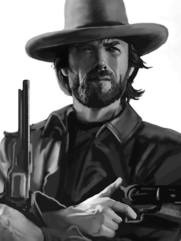 Wallpaper Clint Eastwood Pistol Men Beautiful Beard Hat 600x800