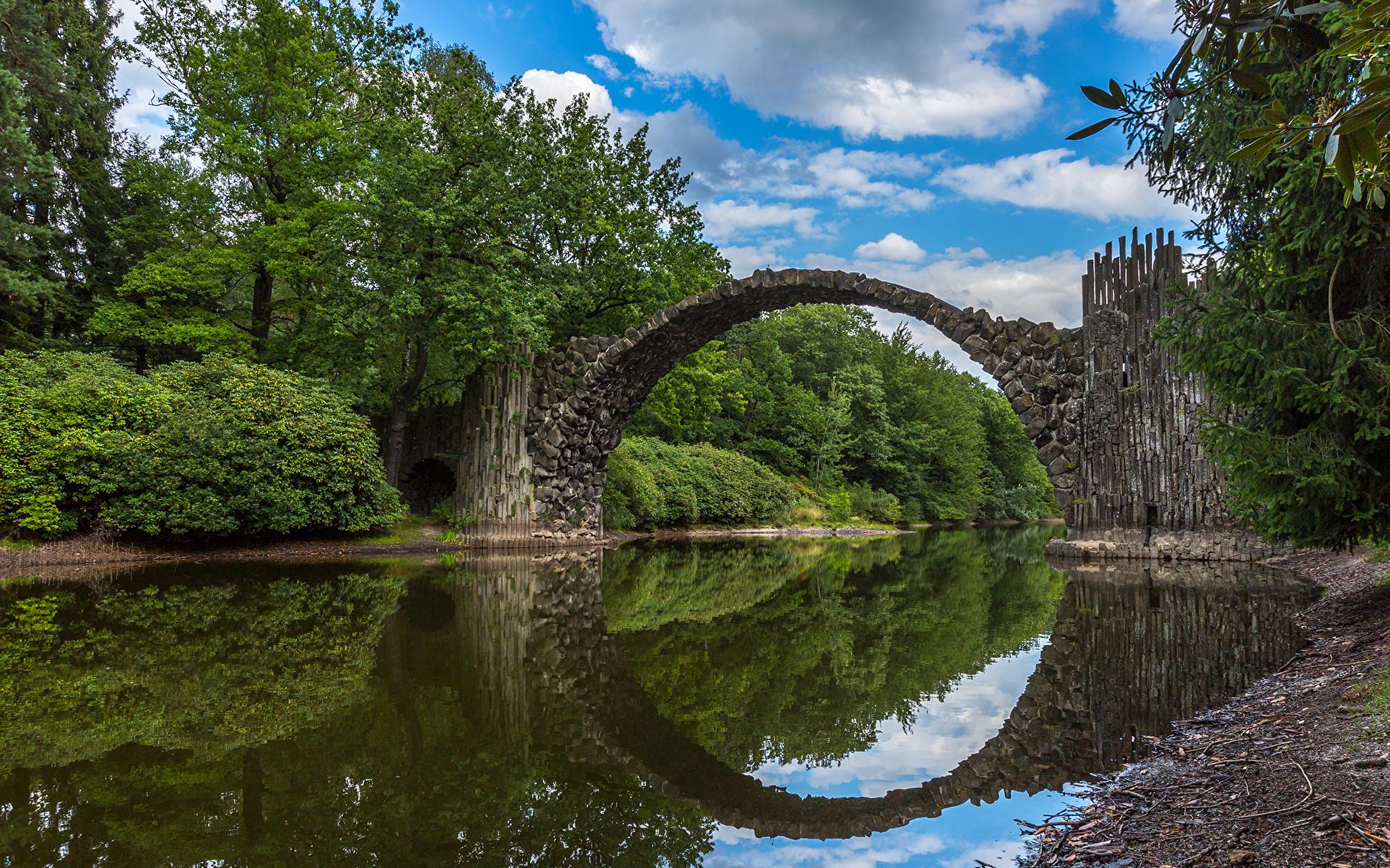 Images Germany Nature Bridges Rivers 1920x1200 bridge river