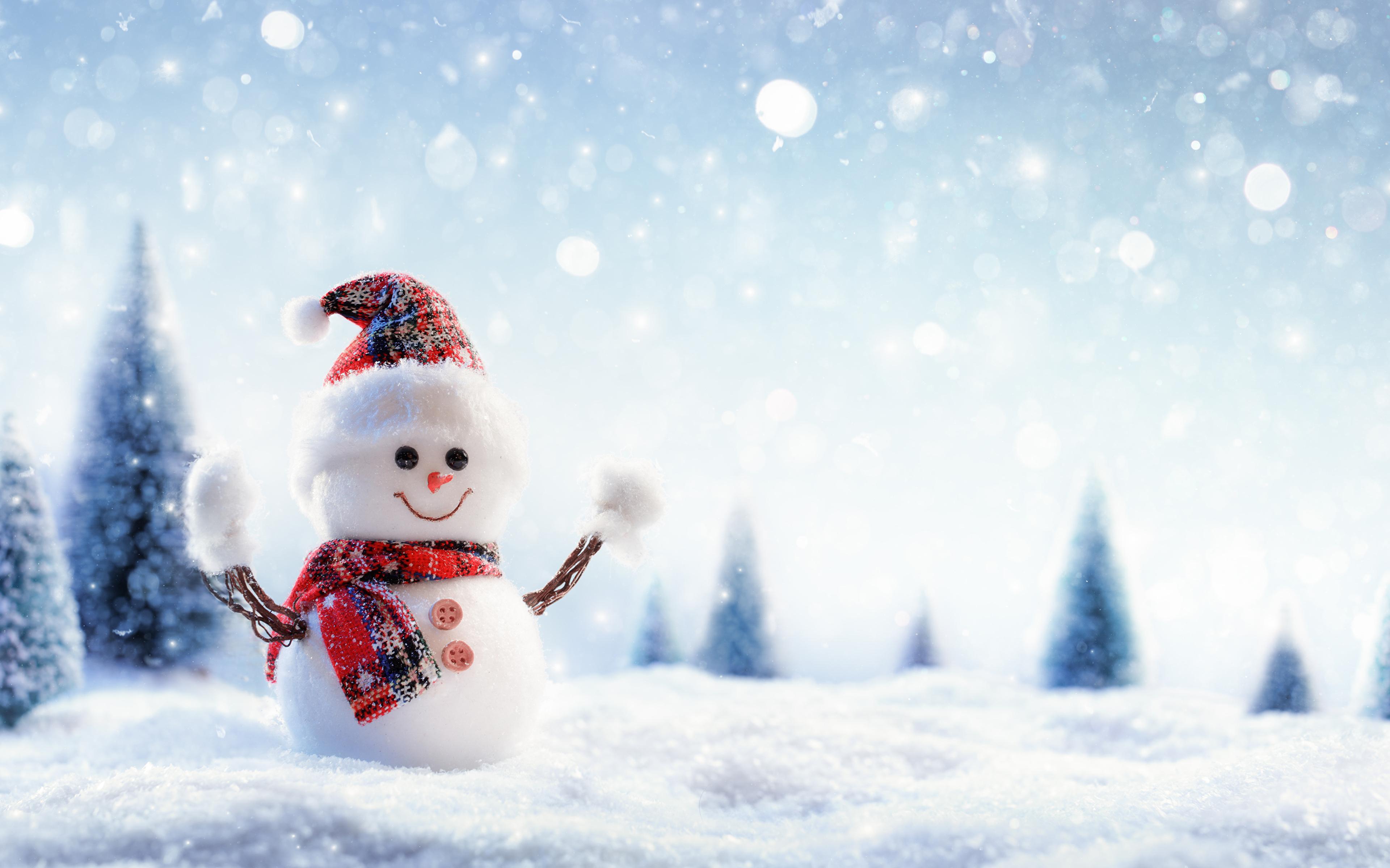 壁紙 3840x2400 冬 雪 雪だるま 暖かい帽子 スカーフ 襟巻き