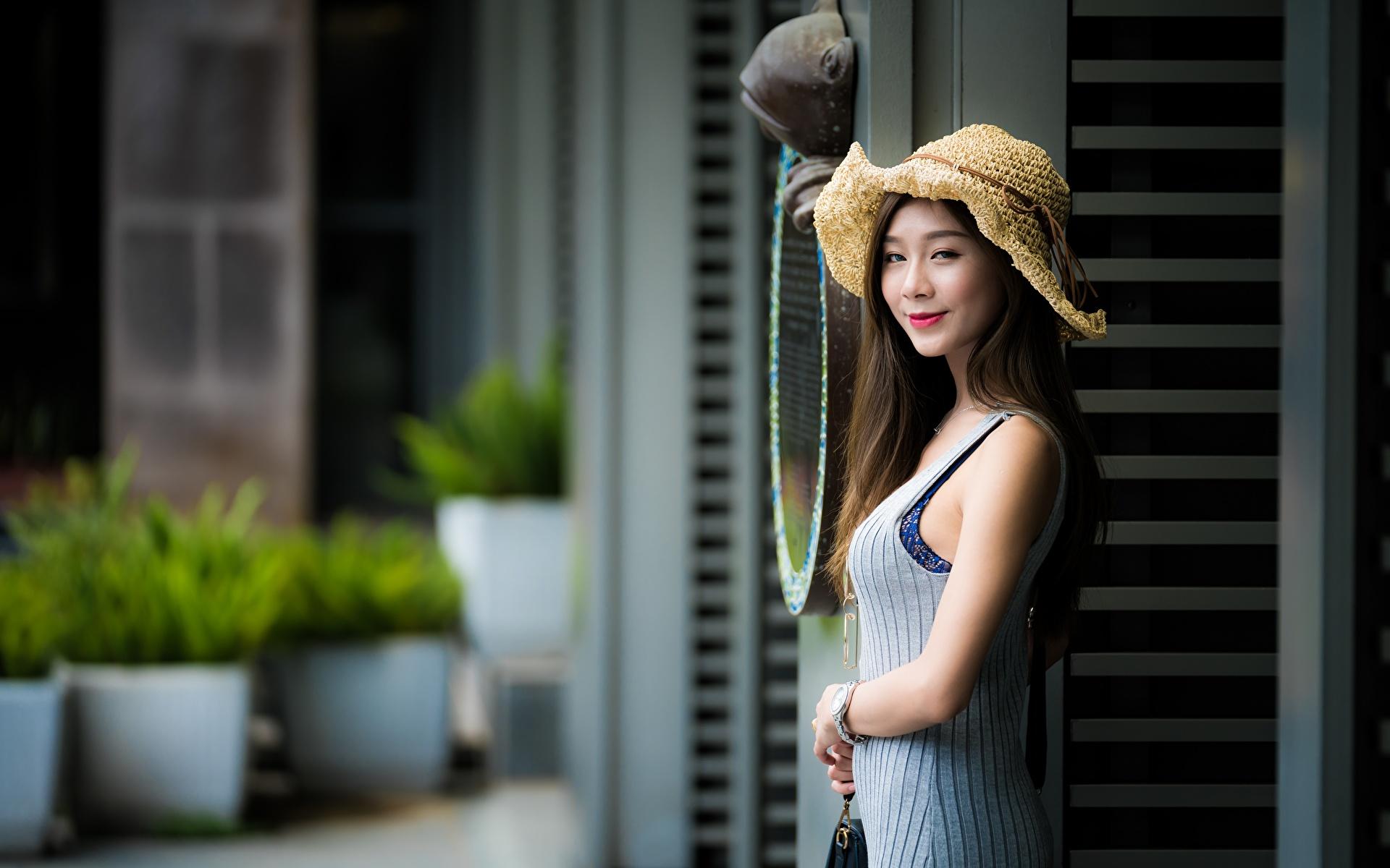 1920x1200、アジア人、ボケ写真、帽子、微笑み、手、若い女性、少女、