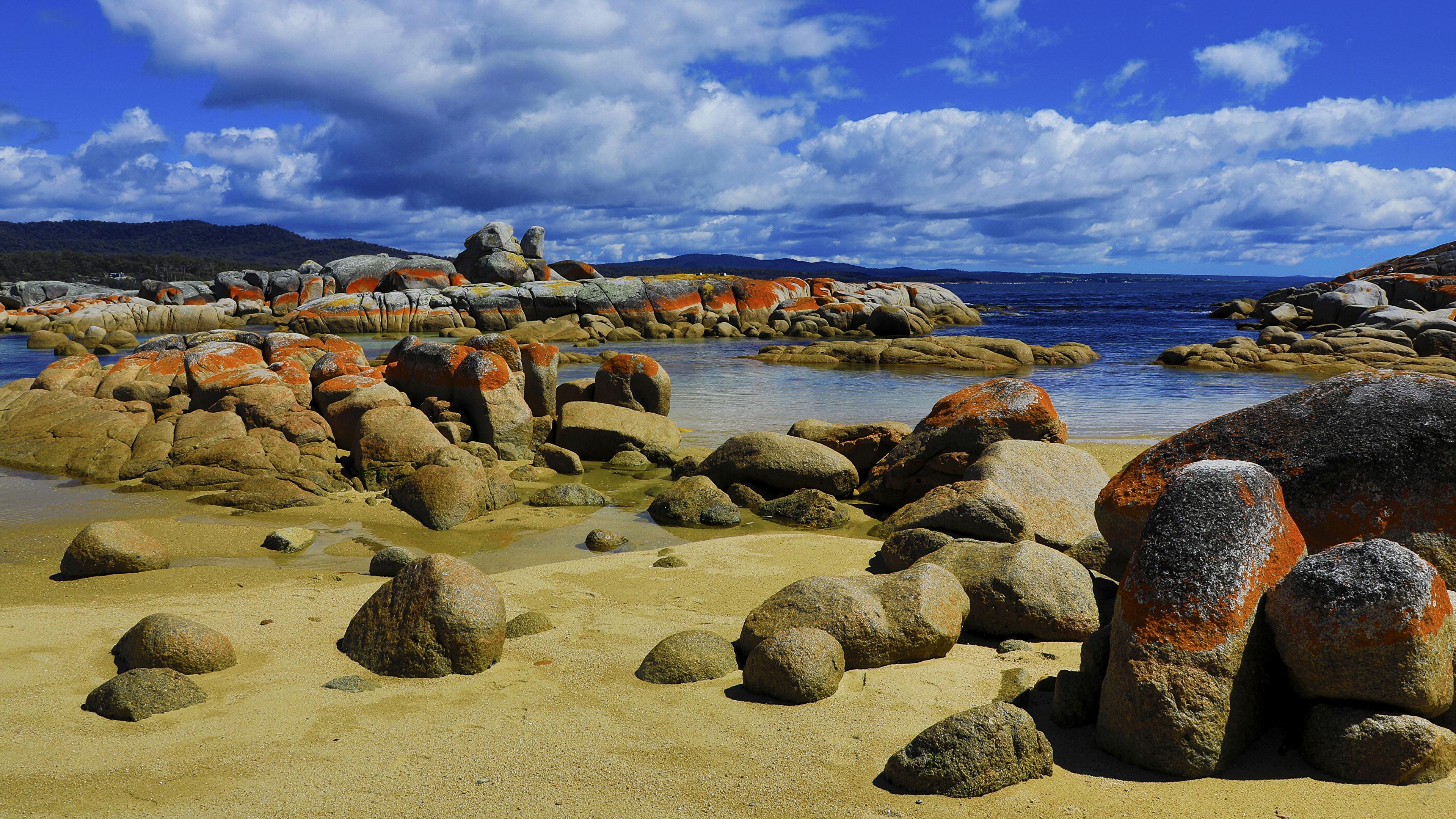 Fotos von Australien Tasmania Natur Himmel Küste Steine Wolke 3840x2160 Stein