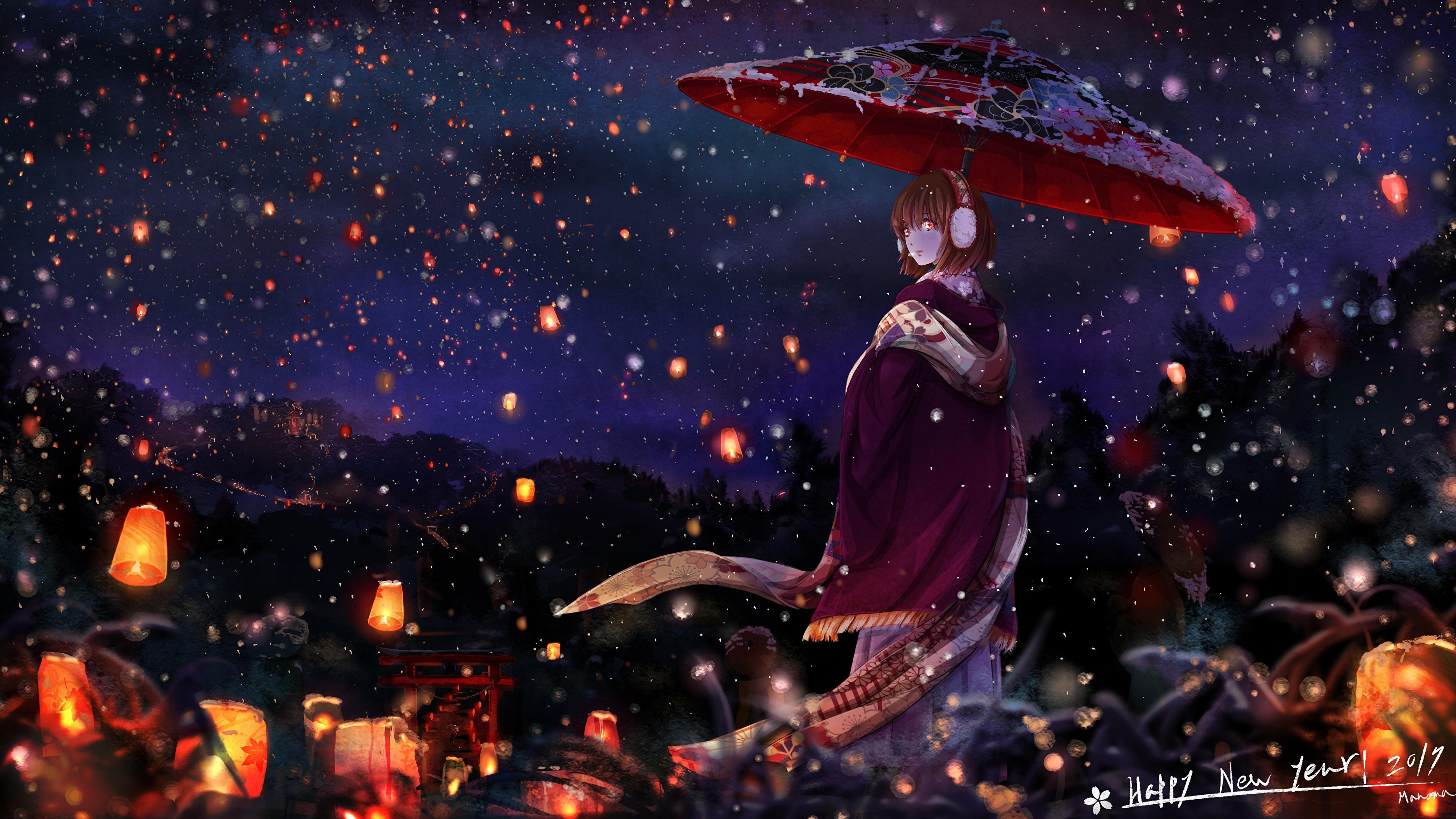 Picture Lantern Kimono Anime Young Woman Night Umbrella 3840x2160