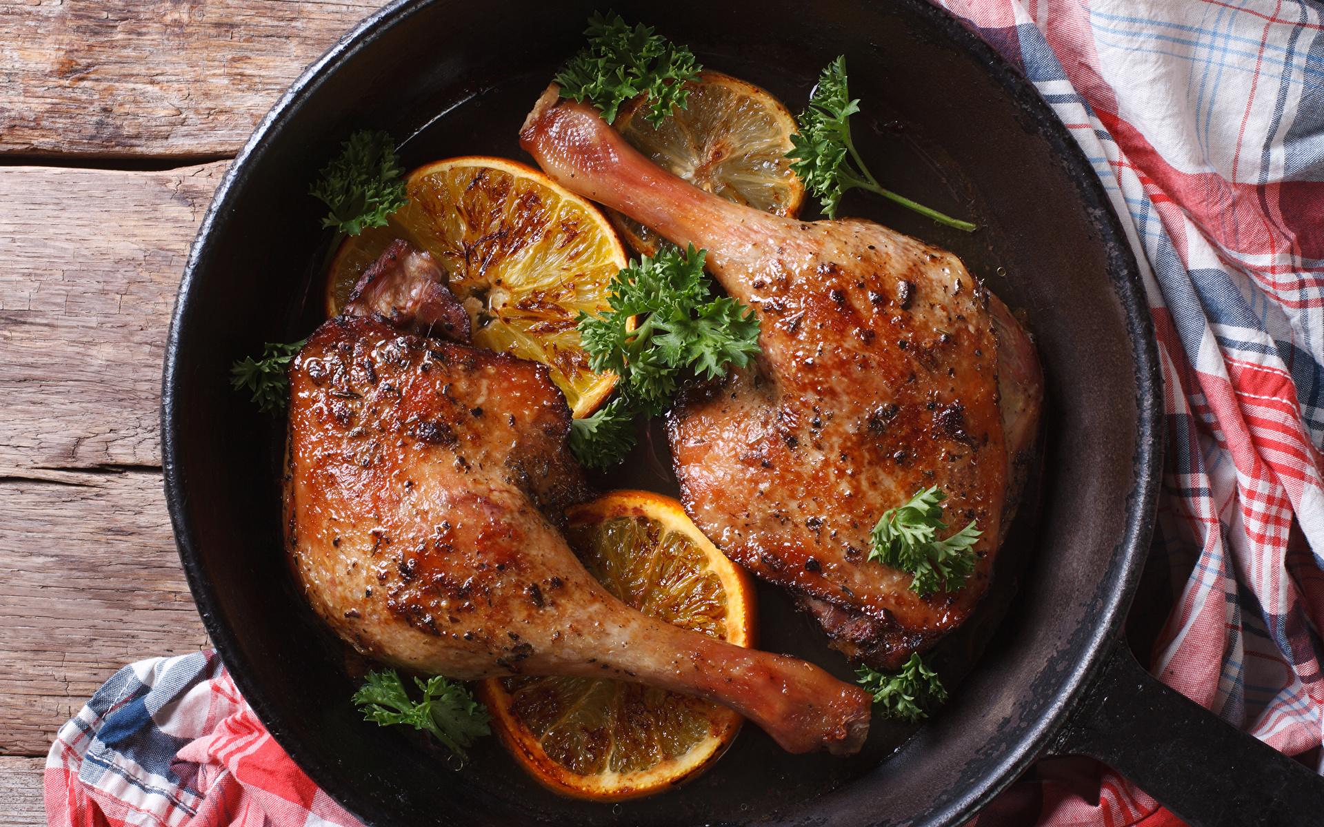 Images Orange fruit Frying pan Roast Chicken Food 1920x1200 frypan