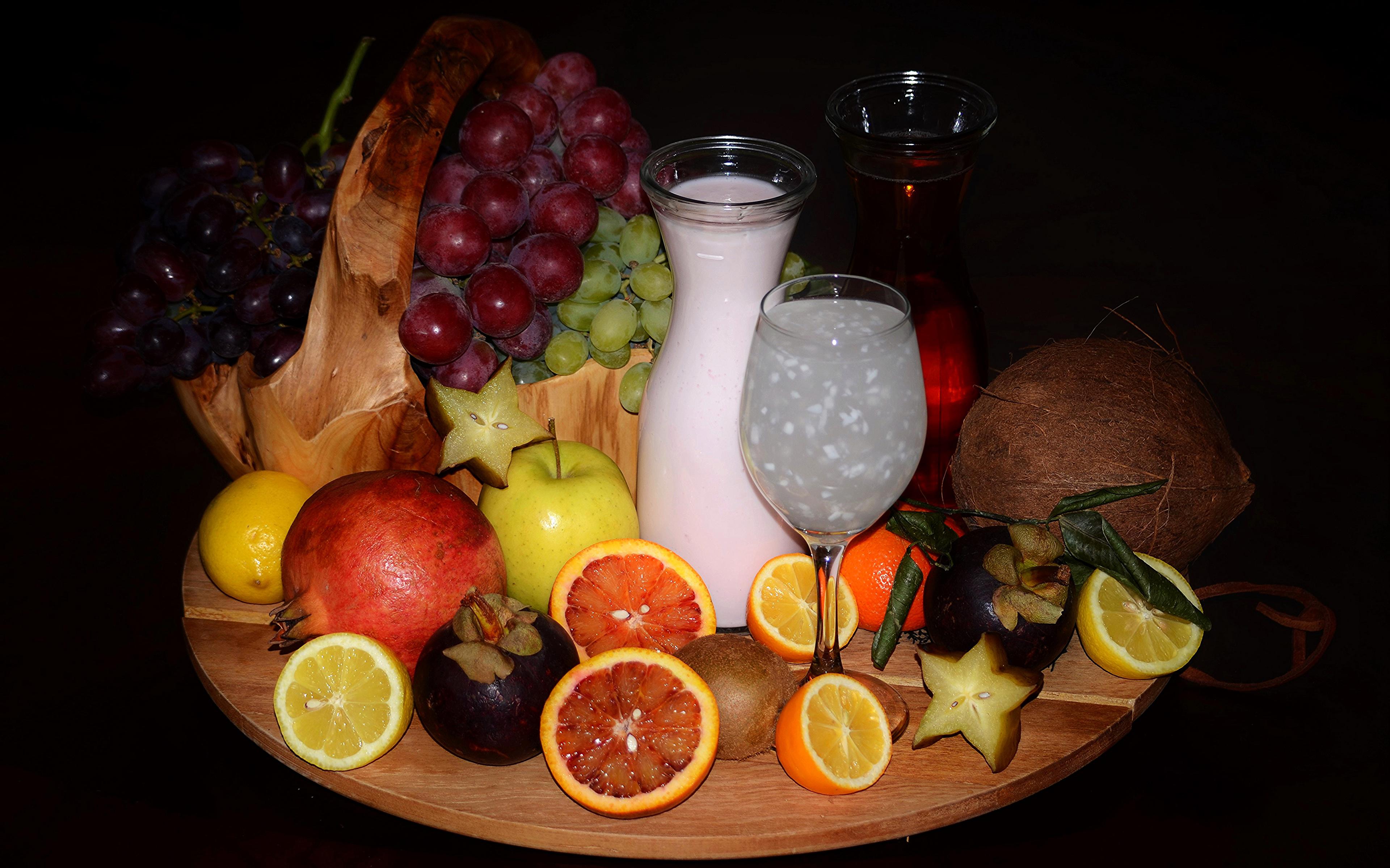 Hintergrundbilder Milch Kokos Weintraube Granatapfel Obst Weinglas flaschen Lebensmittel Zitrusfrüchte 3840x2400 Kokosnuss Flasche das Essen