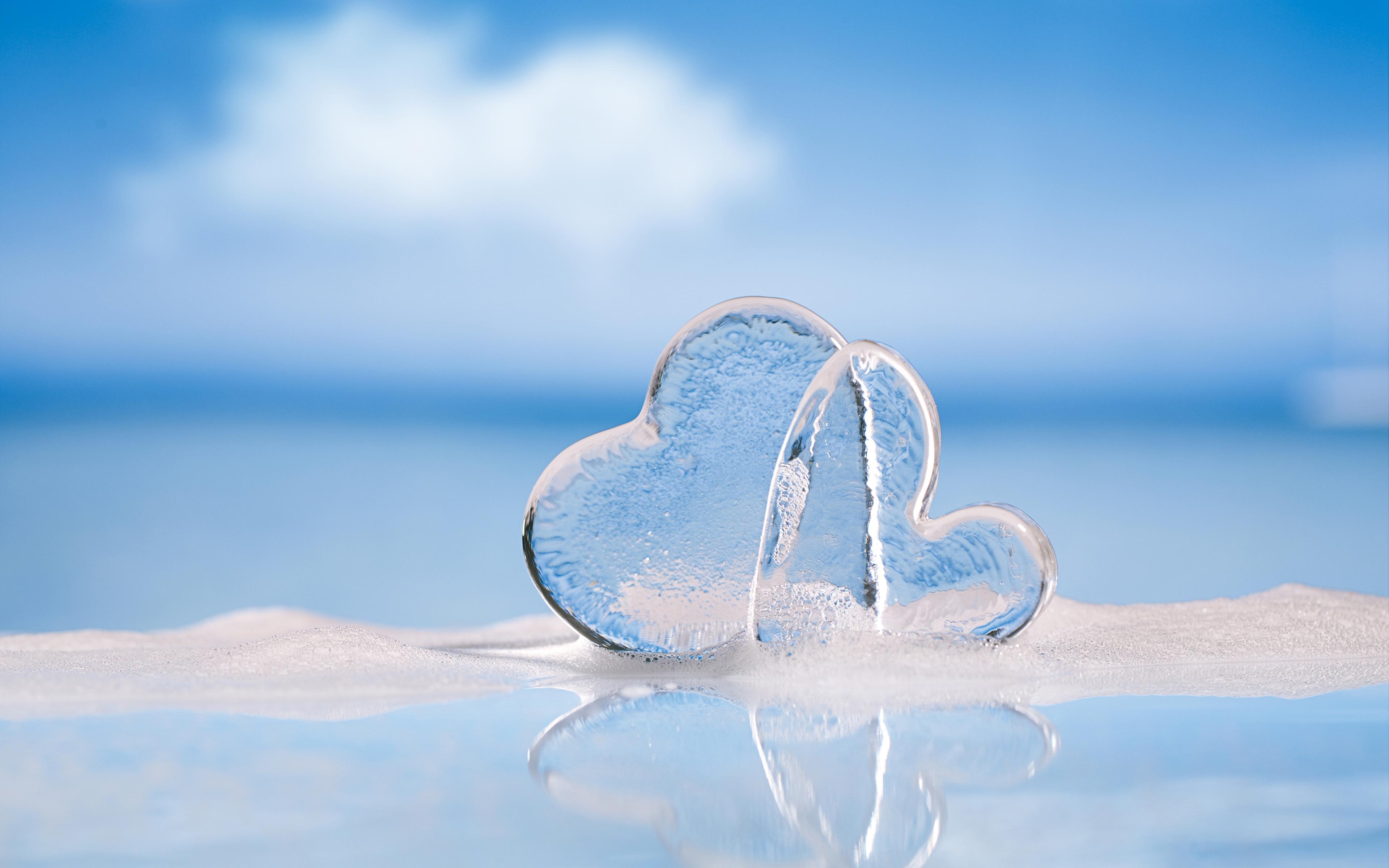 Fotos von Valentinstag Herz Eis 2 3840x2400 Zwei
