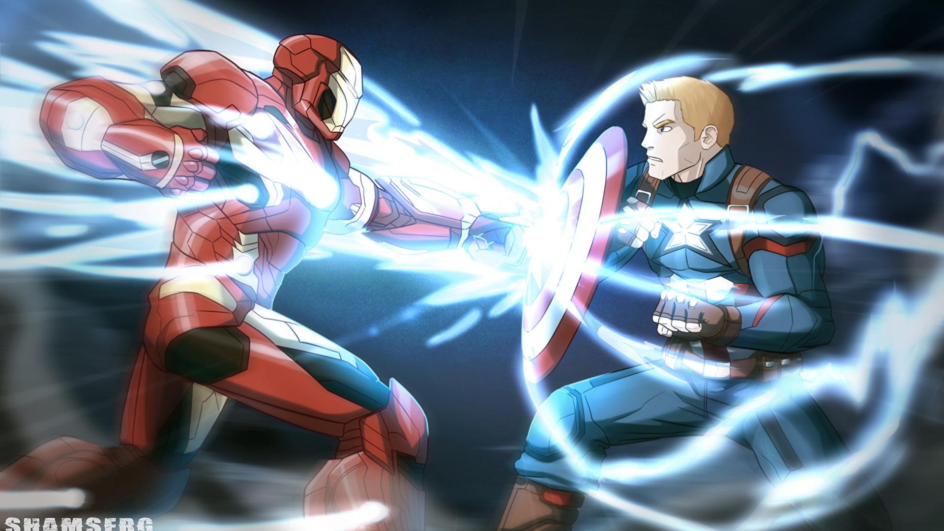 Image Captain America: Civil War Shield Iron Man hero Captain America hero Tony Stark Two Fantasy film Battles 1920x1080 2 Movies fighting