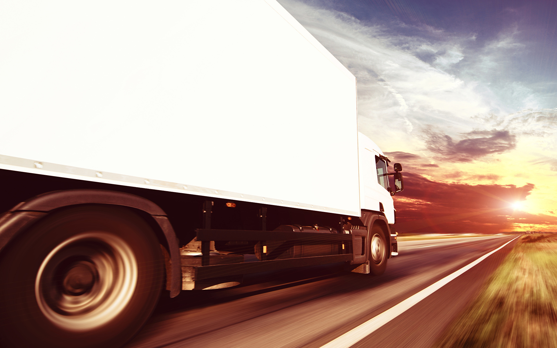 Picture lorry White Roads moving auto 1920x1200 Trucks Motion riding driving at speed Cars automobile