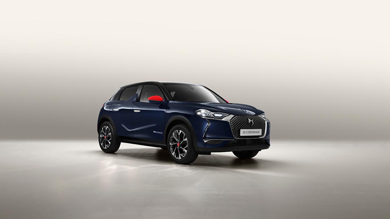 Fotos Französischer Crossover DS 3 Crossback, 2020 Blau auto Metallisch 1366x768 französische französisches Softroader Autos automobil