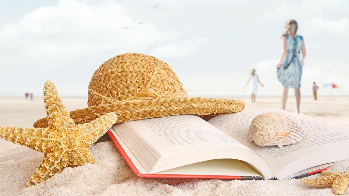 Desktop Wallpapers Starfish beaches Hat Sand Shells Book 1366x768 sea stars Beach books