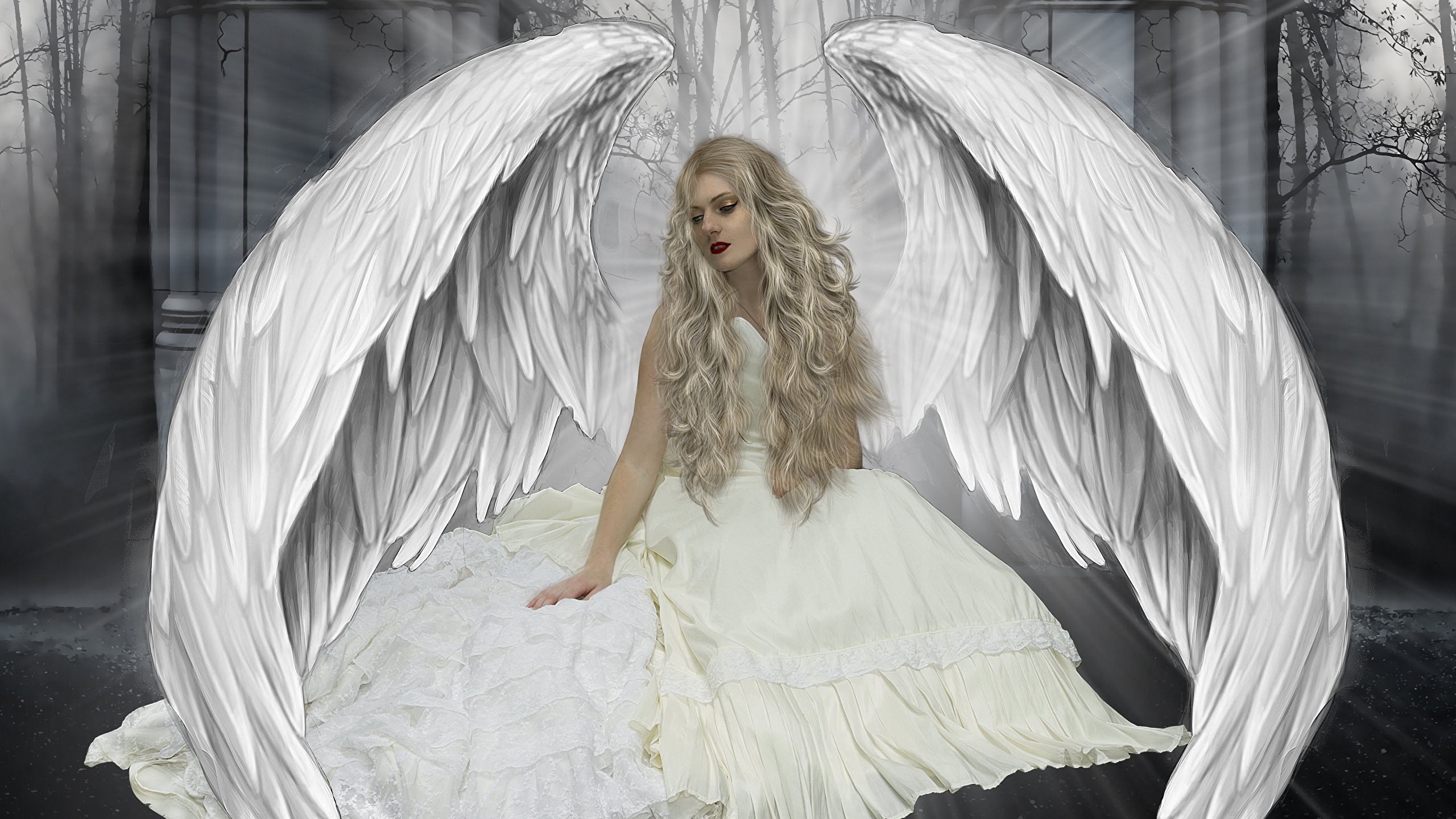 Pictures Blonde Girl Wings Fantasy Young Woman Angel 2560x1440