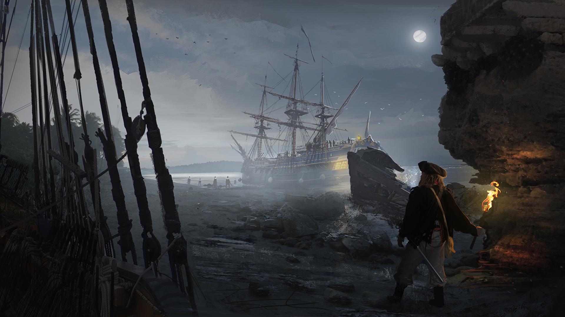 Fonds Decran 1920x1080 Navire Pirates Homme A Voile Nuit