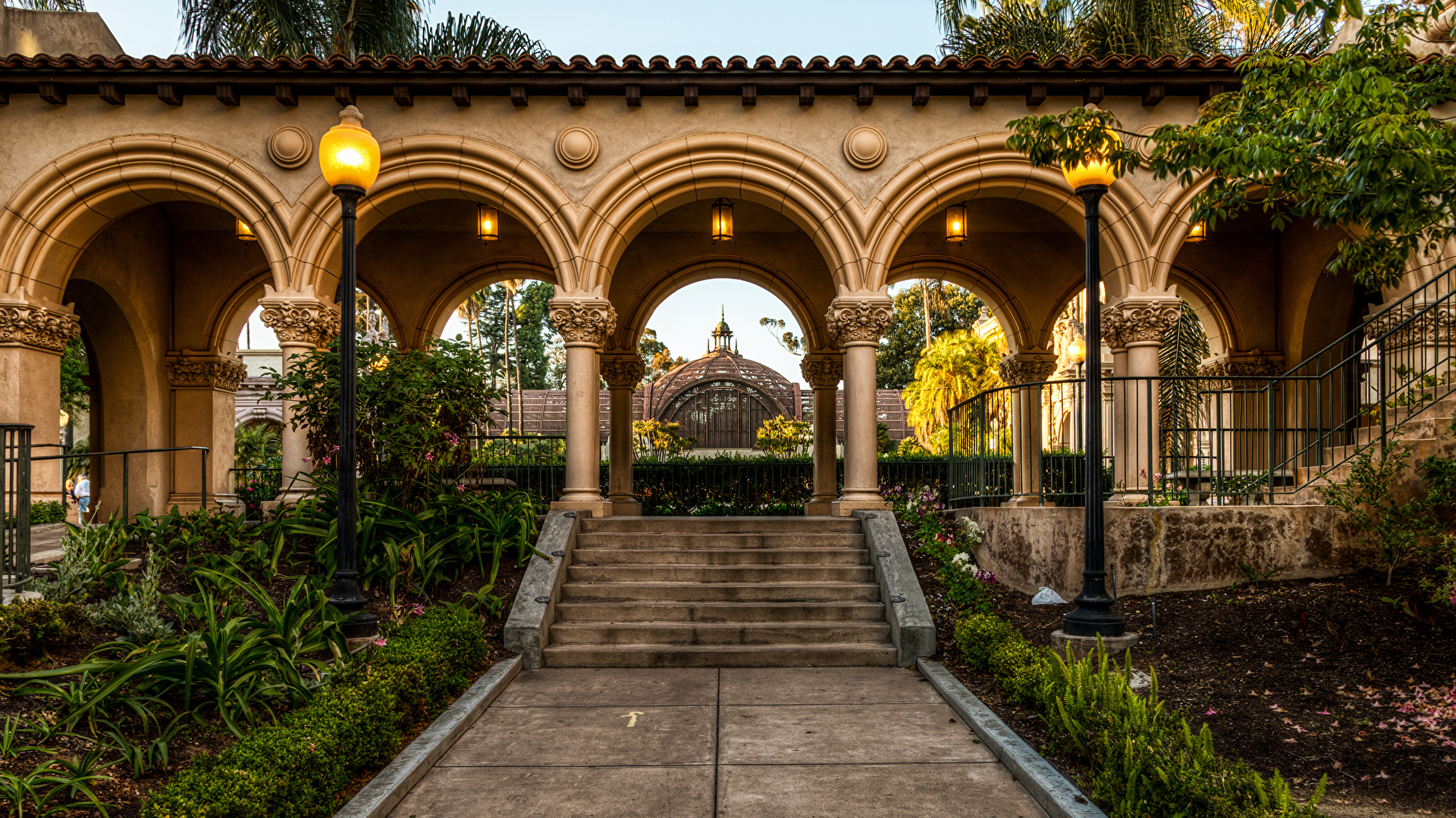 Wallpaper San Diego California USA Arch Balboa Park Nature staircase park Street lights 1920x1080 Stairs stairway Parks
