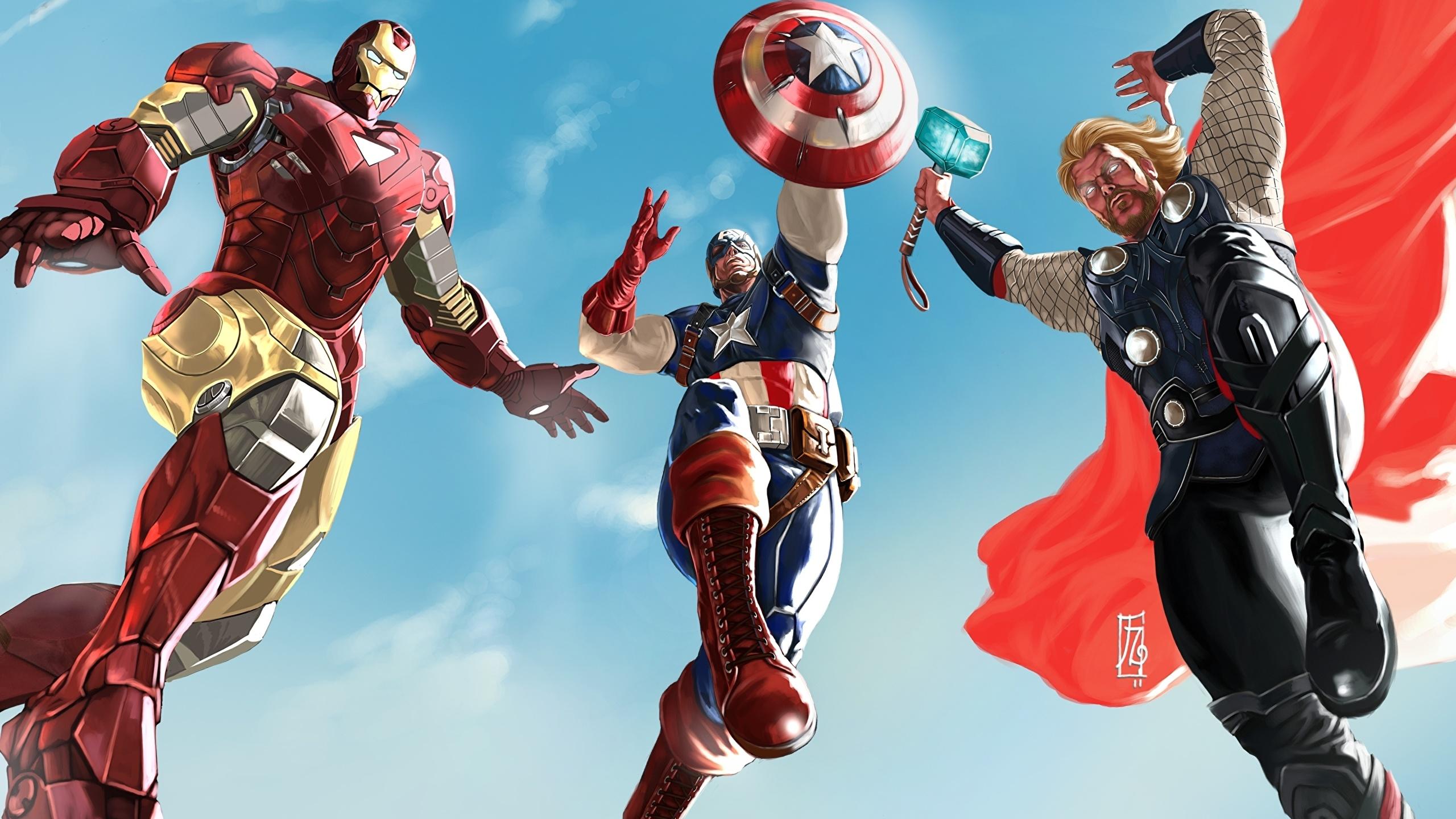 Bilder von Superhelden Thor Held Iron Man Held Captain America Held Fantasy 2560x1440 Comic-Helden