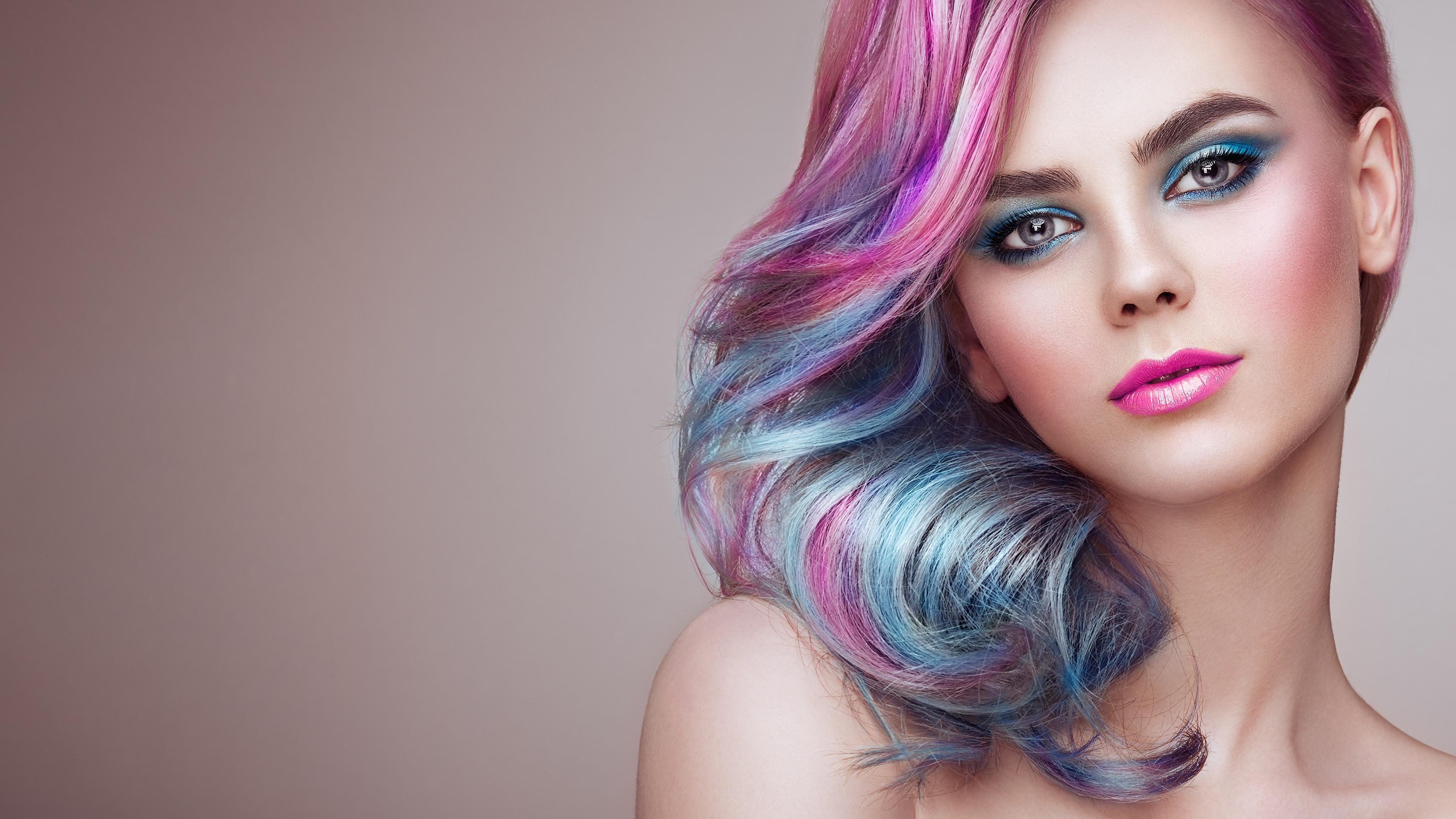 Desktop Wallpapers Makeup Oleg Gekman Hairstyle Hair Face 3840x2160