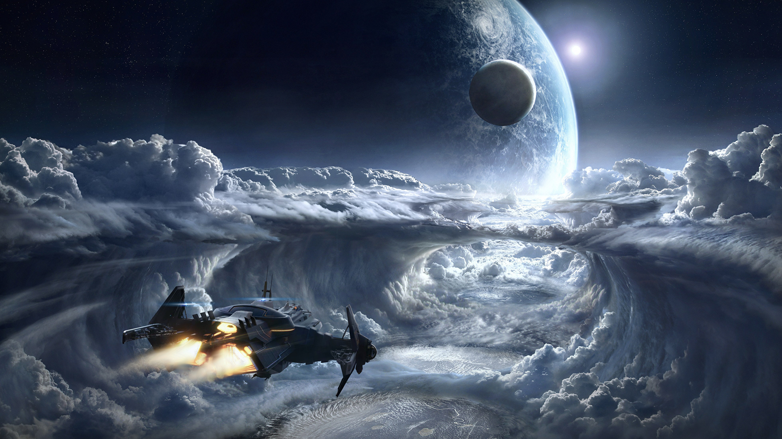 Wallpaper Star Citizen Planets Space Fantasy ship Games Clouds 2560x1440 planet Ships vdeo game