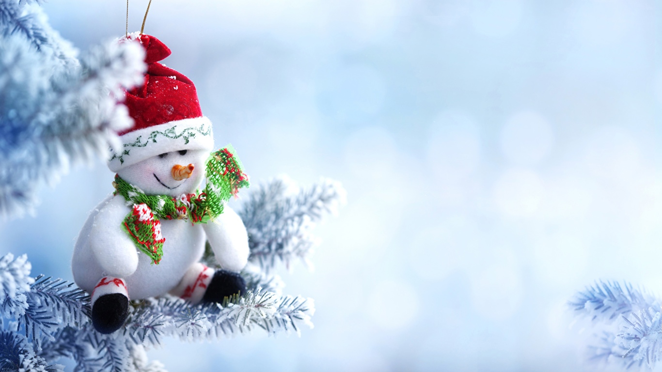 Images New Year Scarf Winter Hat Snow Snowmen 1366x768