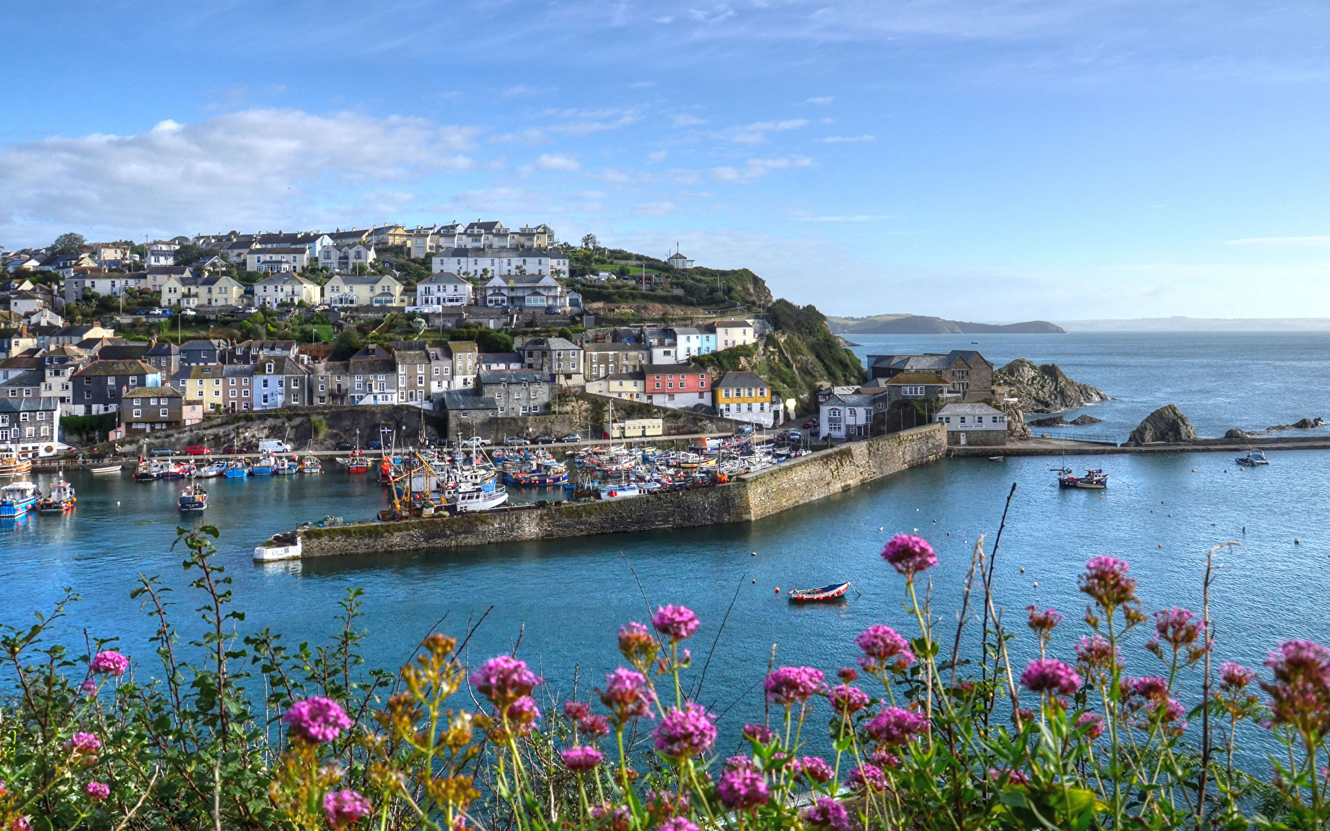 Images England Mevagissey Riverboat Bay Pier Cities Building 1920x1200 Berth Marinas Houses