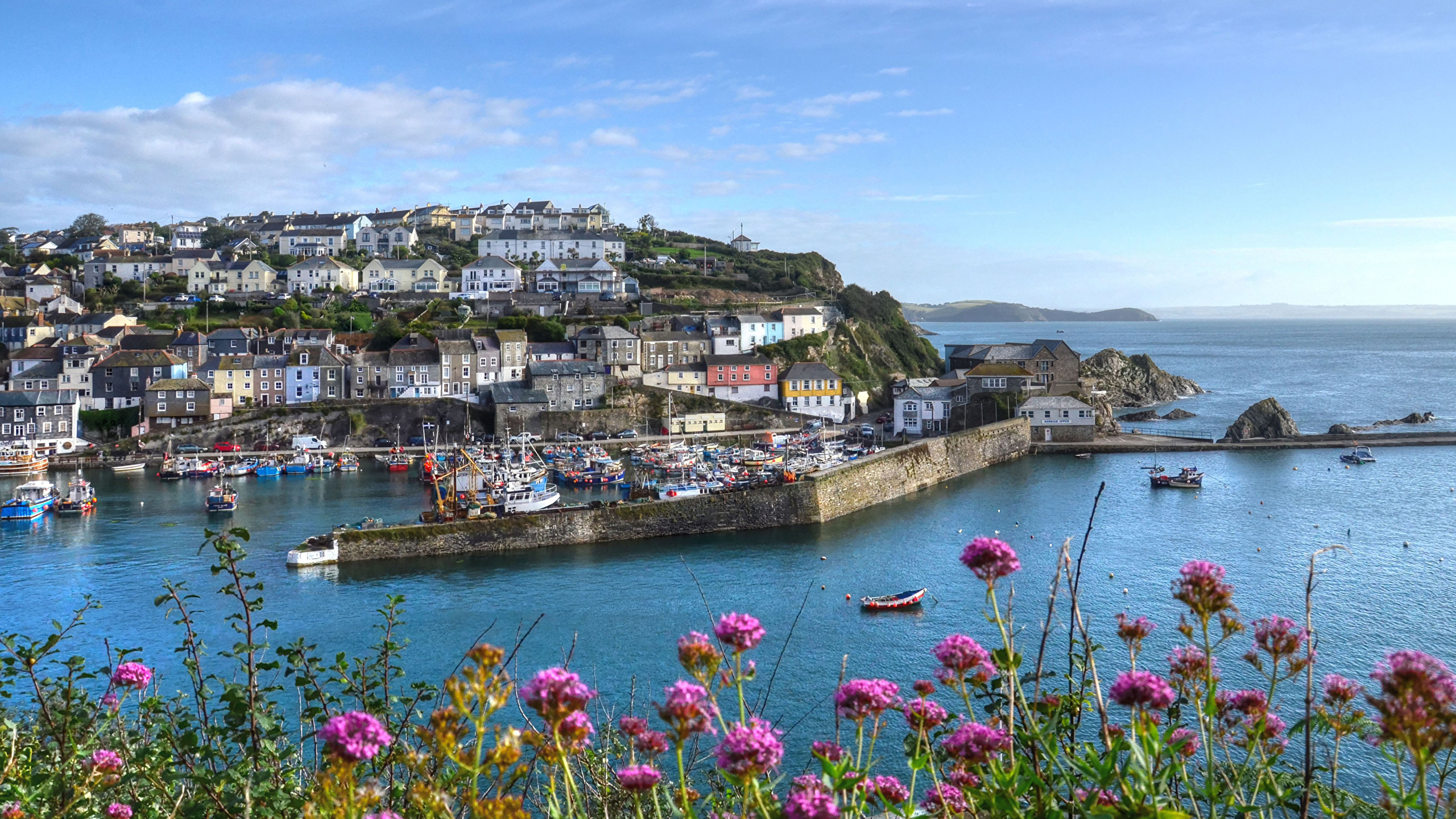 Images England Mevagissey Riverboat Bay Pier Cities Building 2560x1440 Berth Marinas Houses