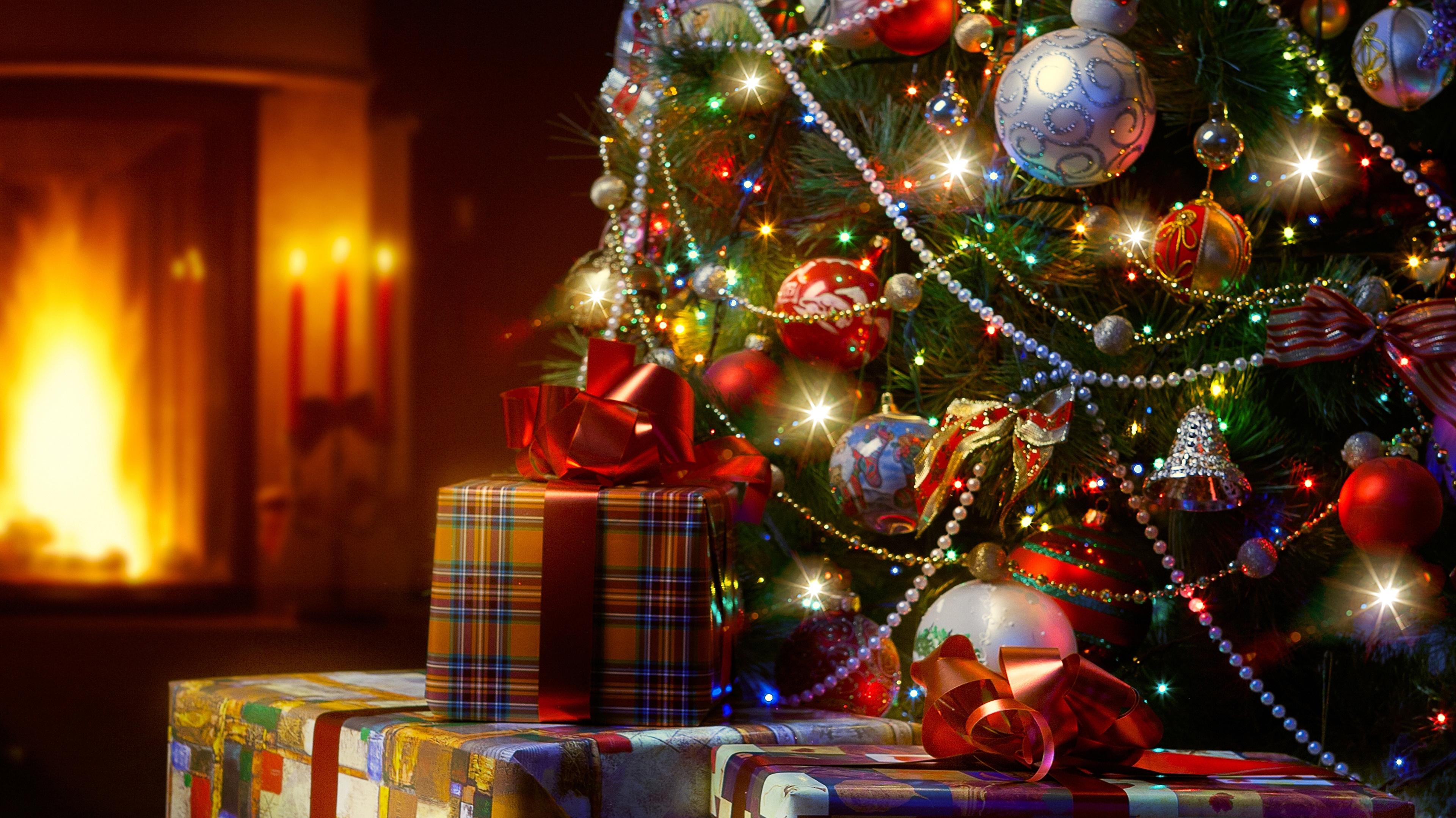 Фото Новый год Елка подарков Шарики Праздники 3840x2160
