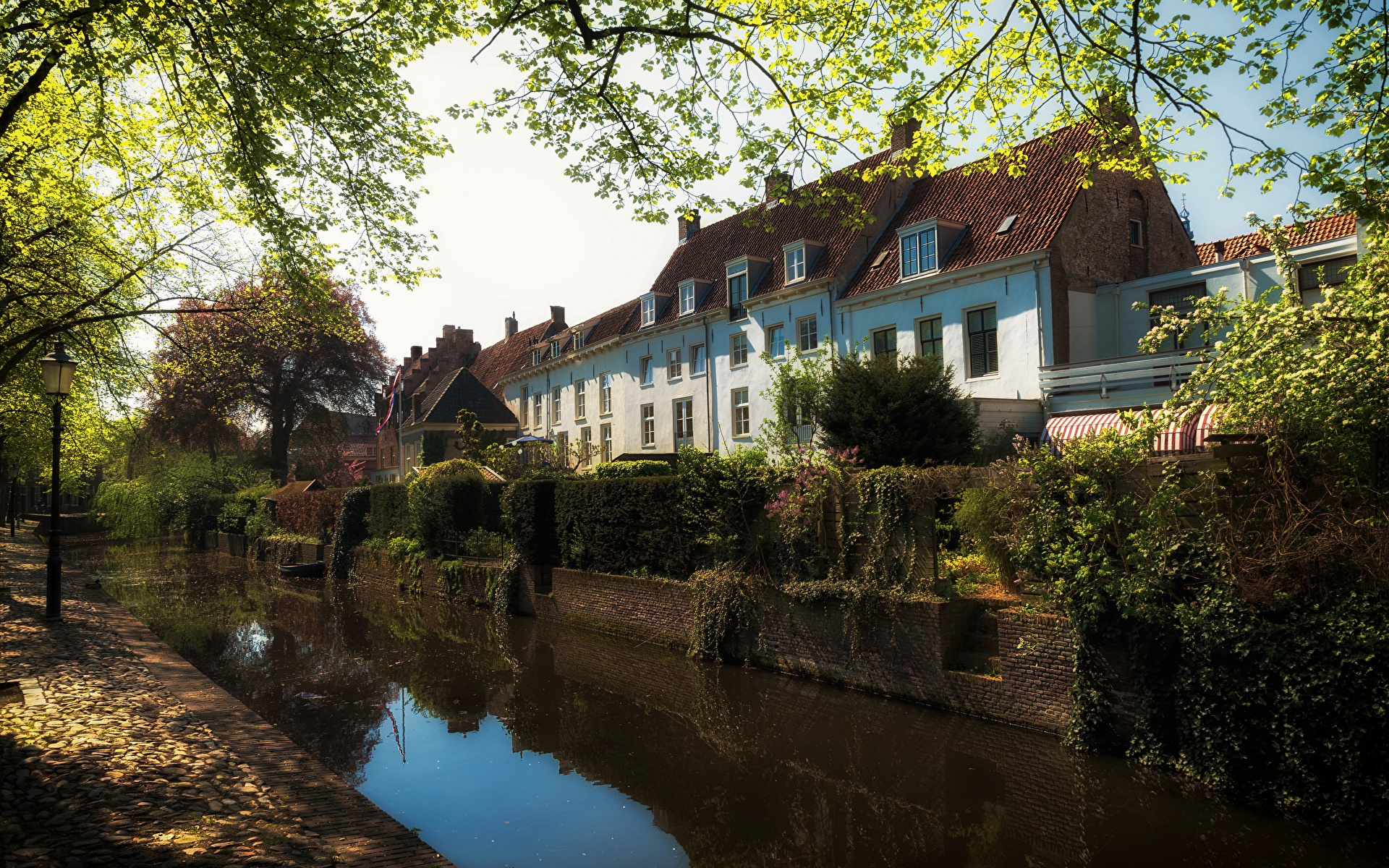 Picture Netherlands Amersfoort Canal Trees Houses Cities 1920x1200 Building