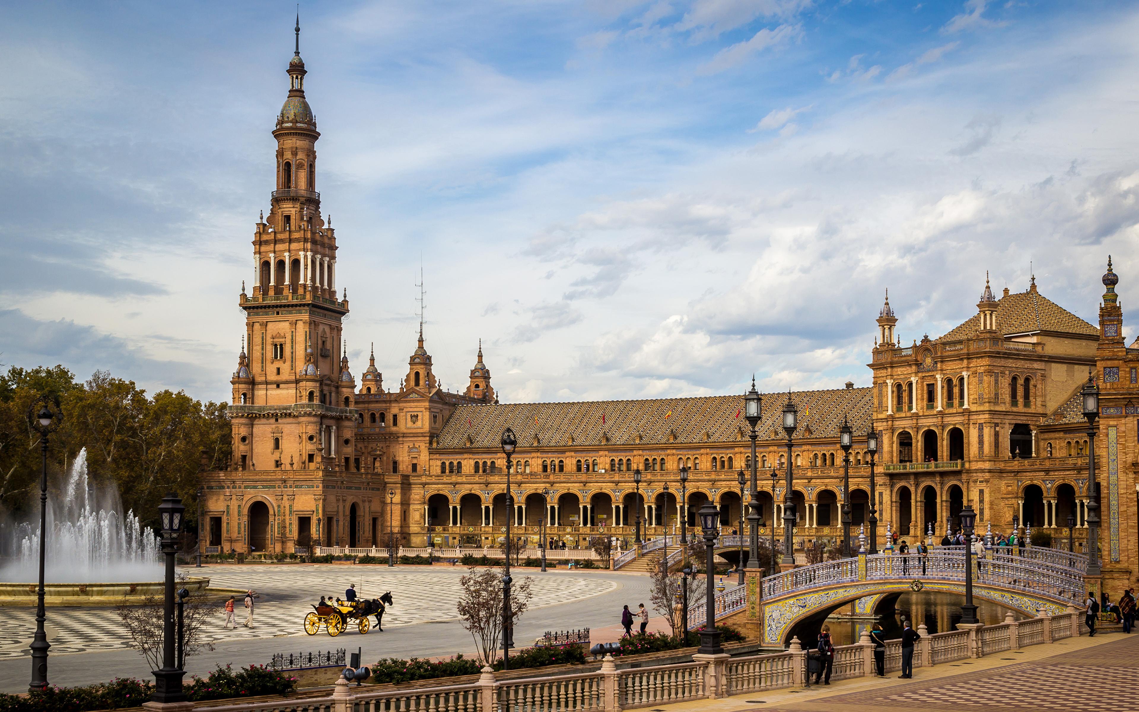 壁紙 3840x2400 スペイン 噴水 橋 Plaza De Espana Sevilla 宮殿 広場 街灯 都市 ダウンロード 写真