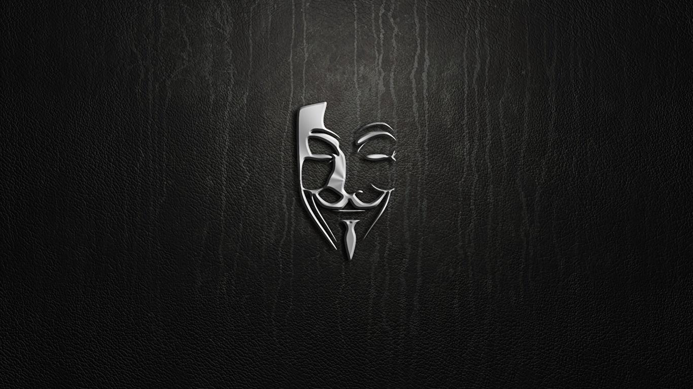 壁紙 1366x768 ロゴエンブレム 仮面 Anonymous ダウンロード 写真