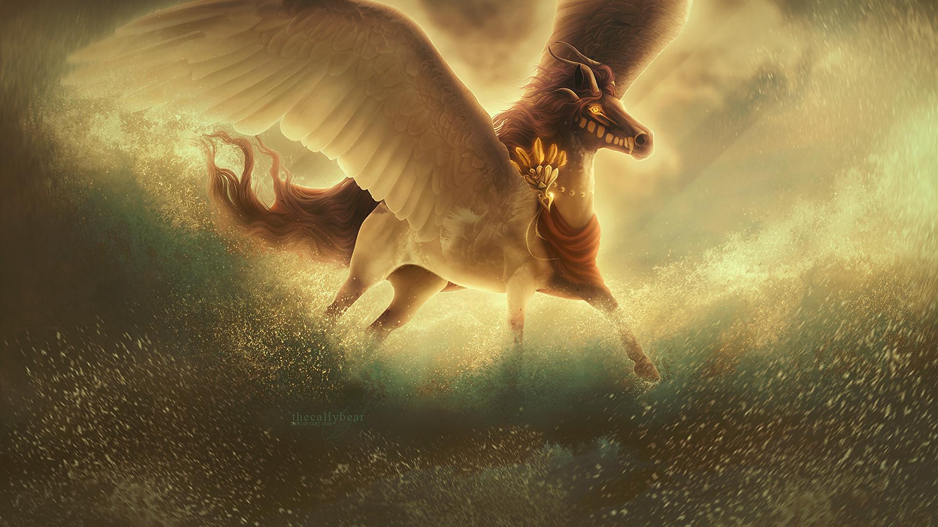 Picture Pegasus Horns Wings Fantasy Magical Animals 1920x1080