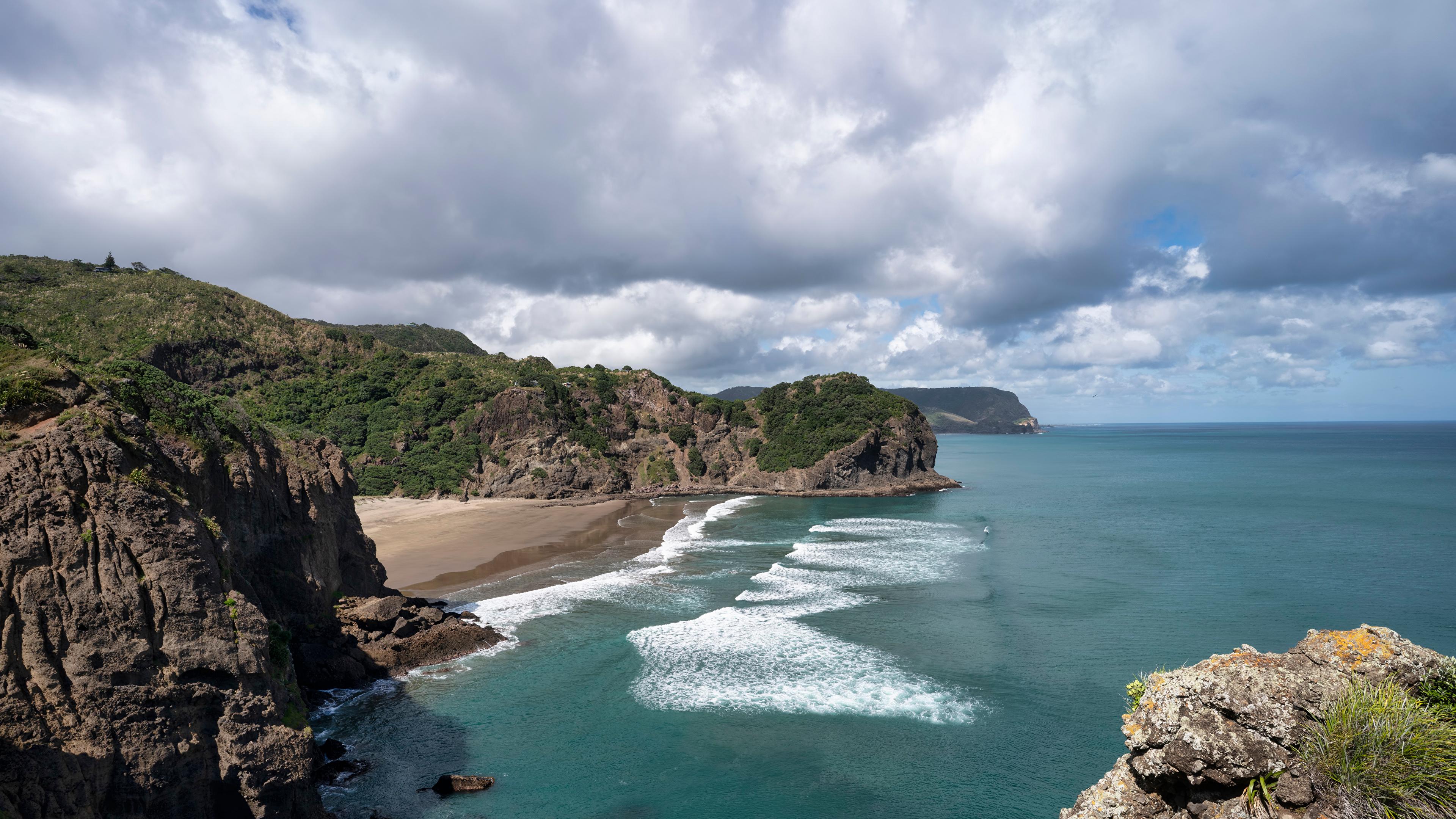 Fotos Neuseeland Whites Beach Natur Felsen Küste Wolke 3840x2160
