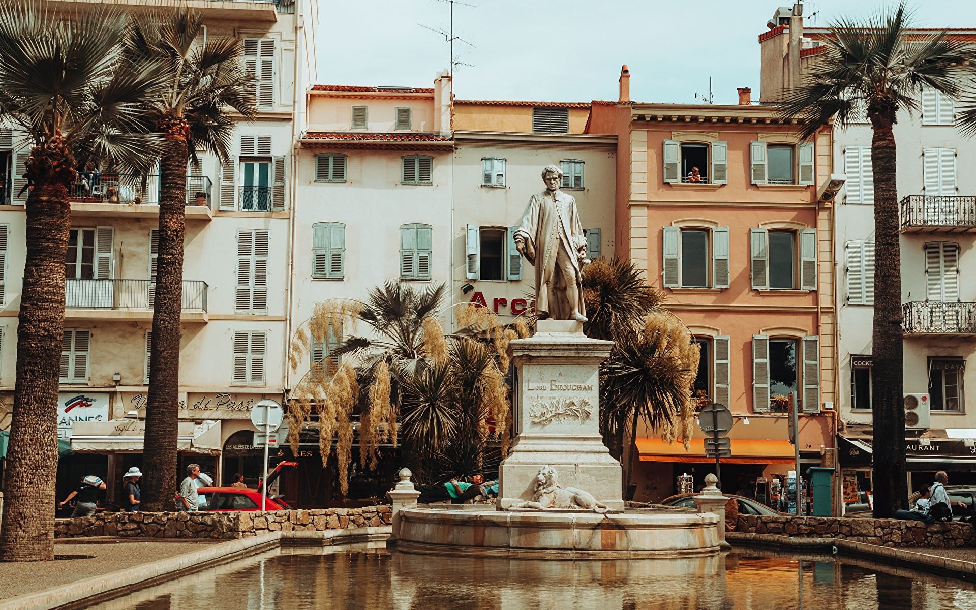 Desktop Wallpapers France Monuments Cannes, Lord Brougham Pond Palms Cities 1920x1200 palm trees