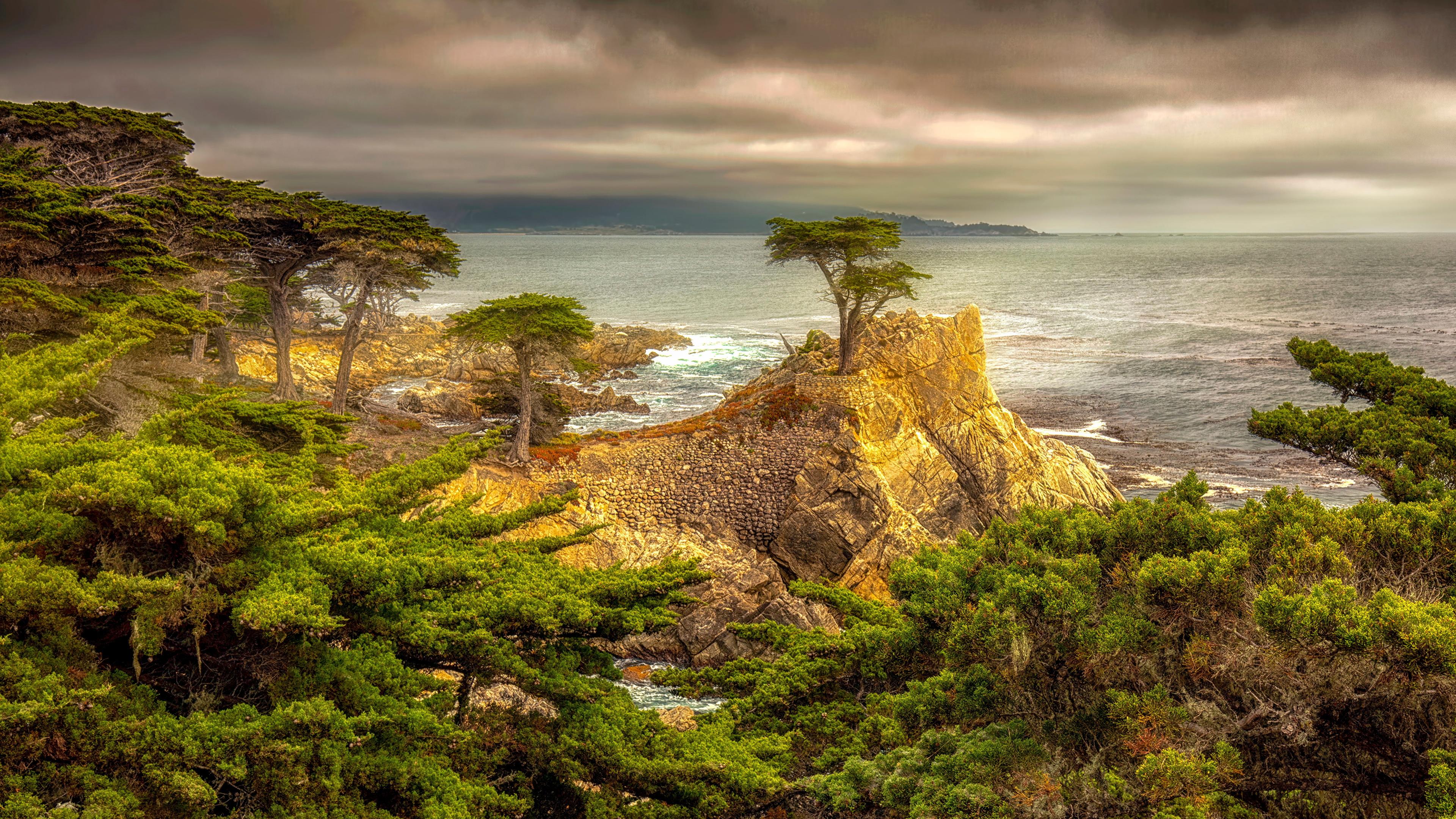 Desktop Hintergrundbilder Kalifornien USA HDR Natur Felsen Küste Wolke Bäume 3840x2160 Vereinigte Staaten HDRI