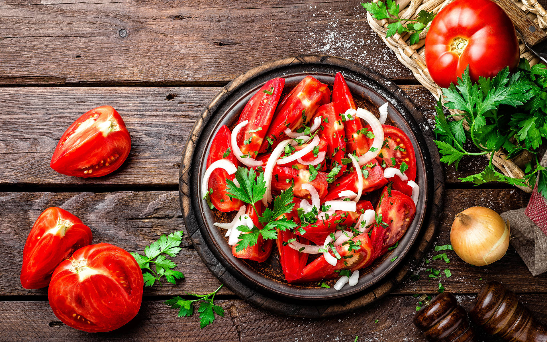 Images Tomatoes Food Salads Vegetables Wood planks 1920x1200 boards