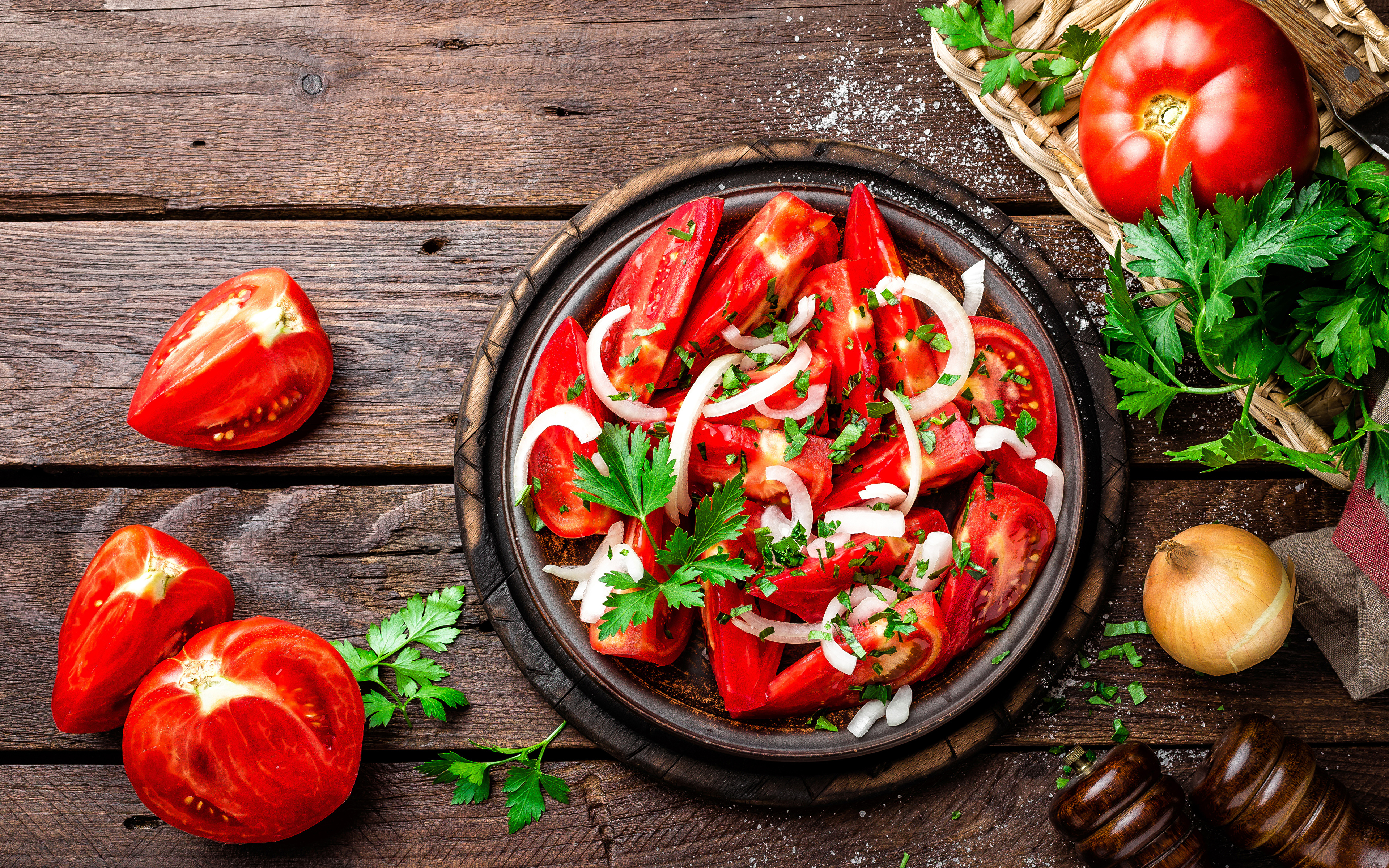Images Tomatoes Food Salads Vegetables Wood planks 3840x2400 boards