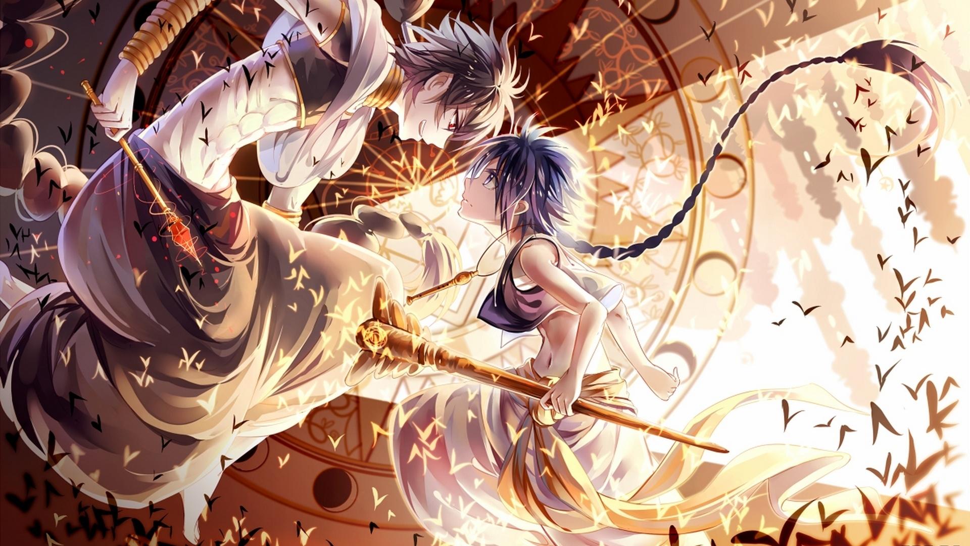 壁紙 1920x1080 マギ 漫画 戦闘 魔術 Judal Aladdin Magi
