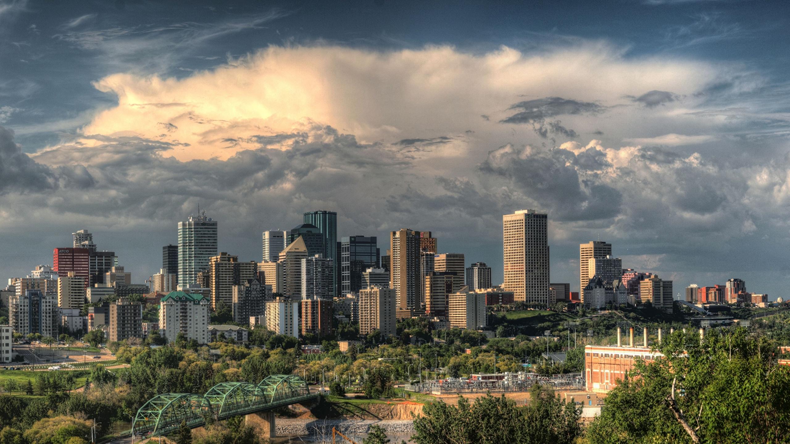Wallpaper Canada Edmonton Alberta Storm Cloud Skyscrapers