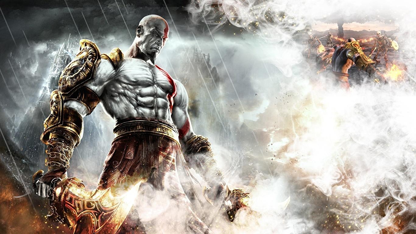Wallpaper God Of War Men Warrior Fantasy Games Smoke 1366x768
