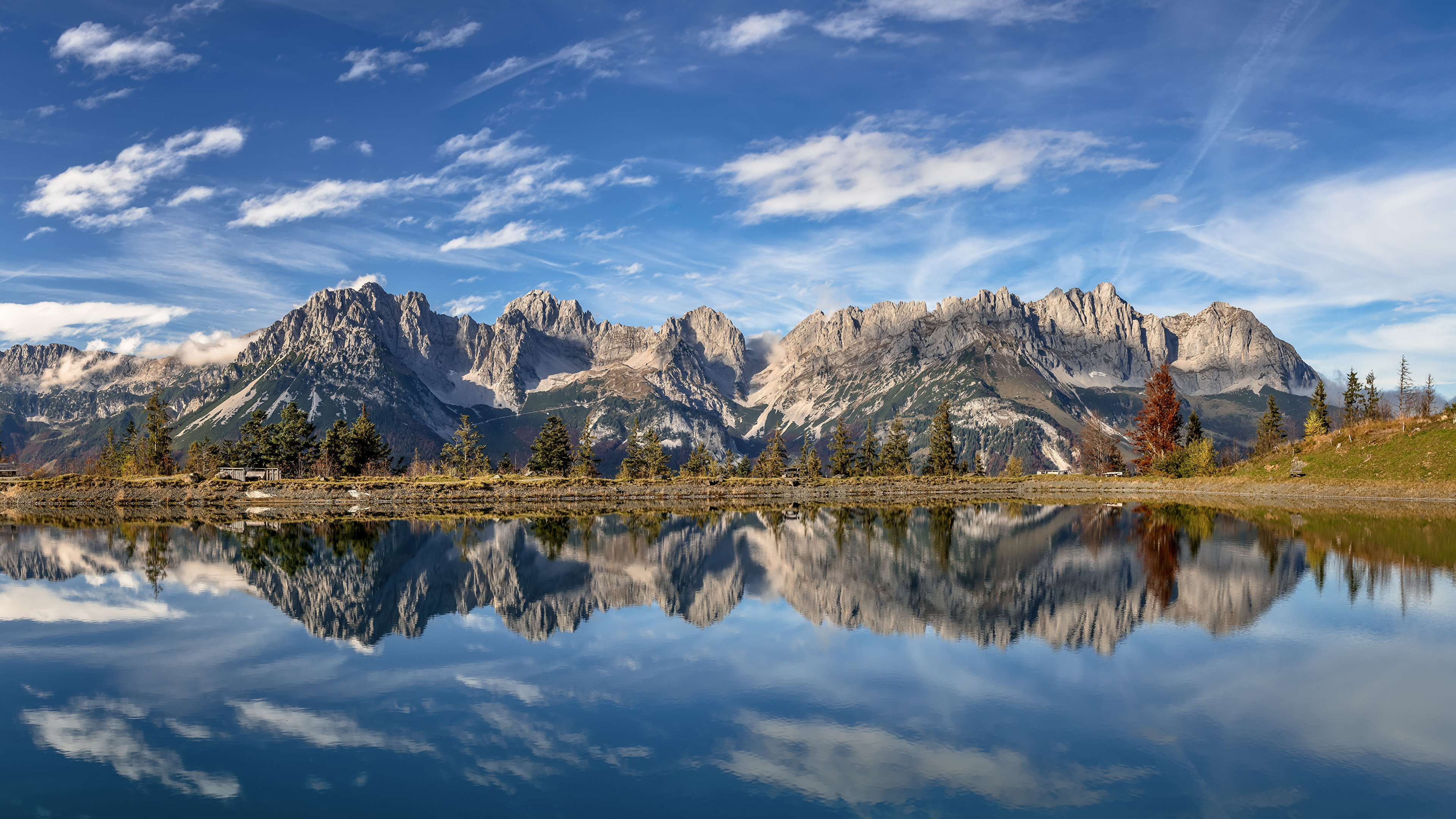 Picture Nature Austria panoramic Tyrol Mountains Reflection Lake Clouds Alps 3840x2160 Panorama mountain reflected