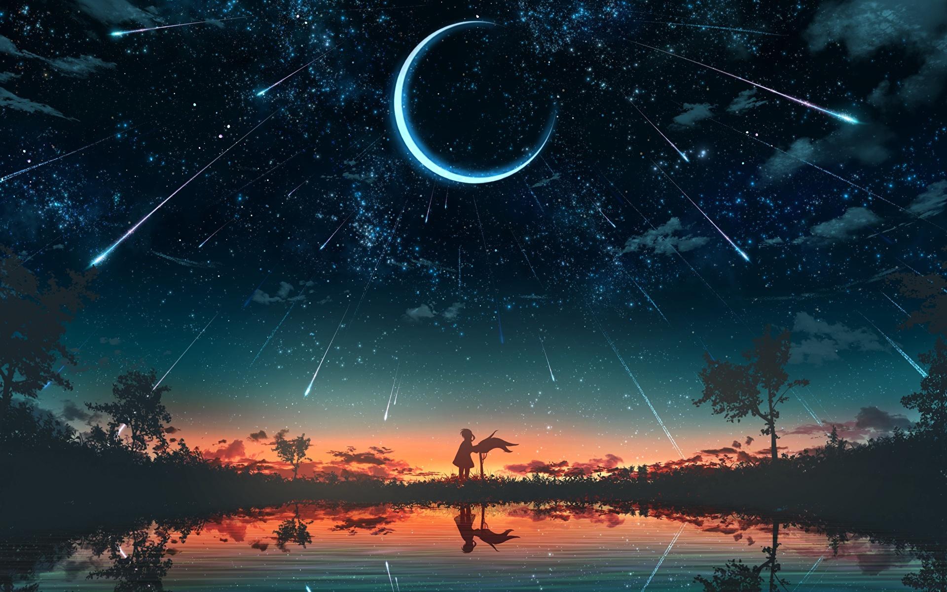 壁紙 19x10 三日月 空 恒星 朝焼けと日没 湖 シルエット ファンタジー ダウンロード 写真