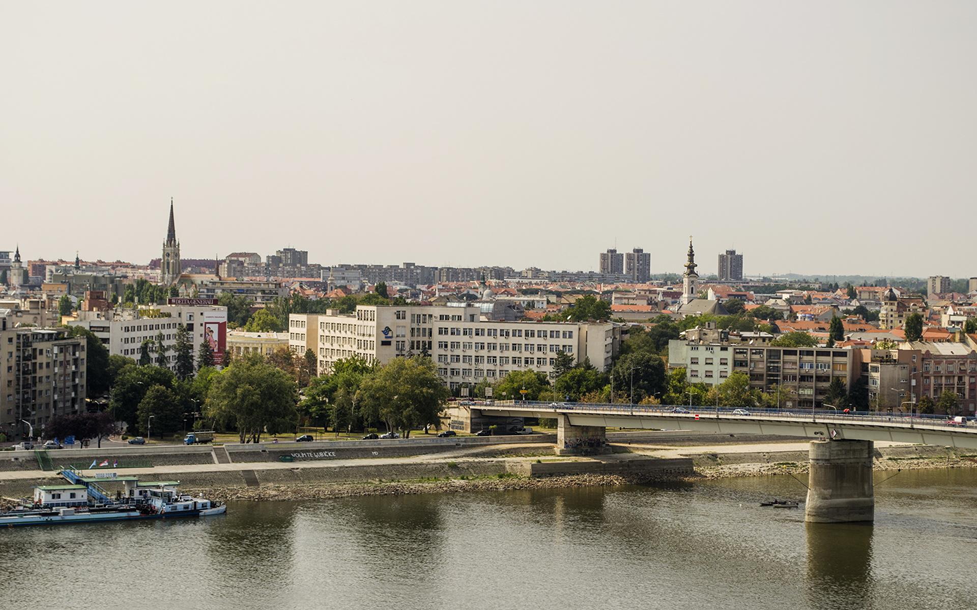 Pictures Serbia Novi Sad bridge Cities Building 1920x1200 Bridges Houses