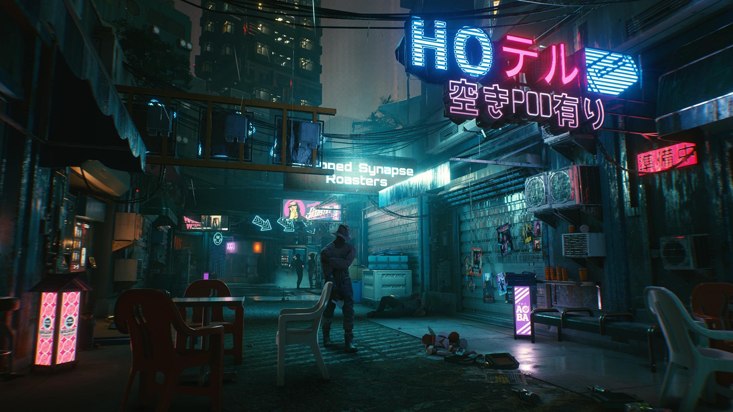 Photos Cyberpunk 2077 Street Vdeo Game Night 2560x1440