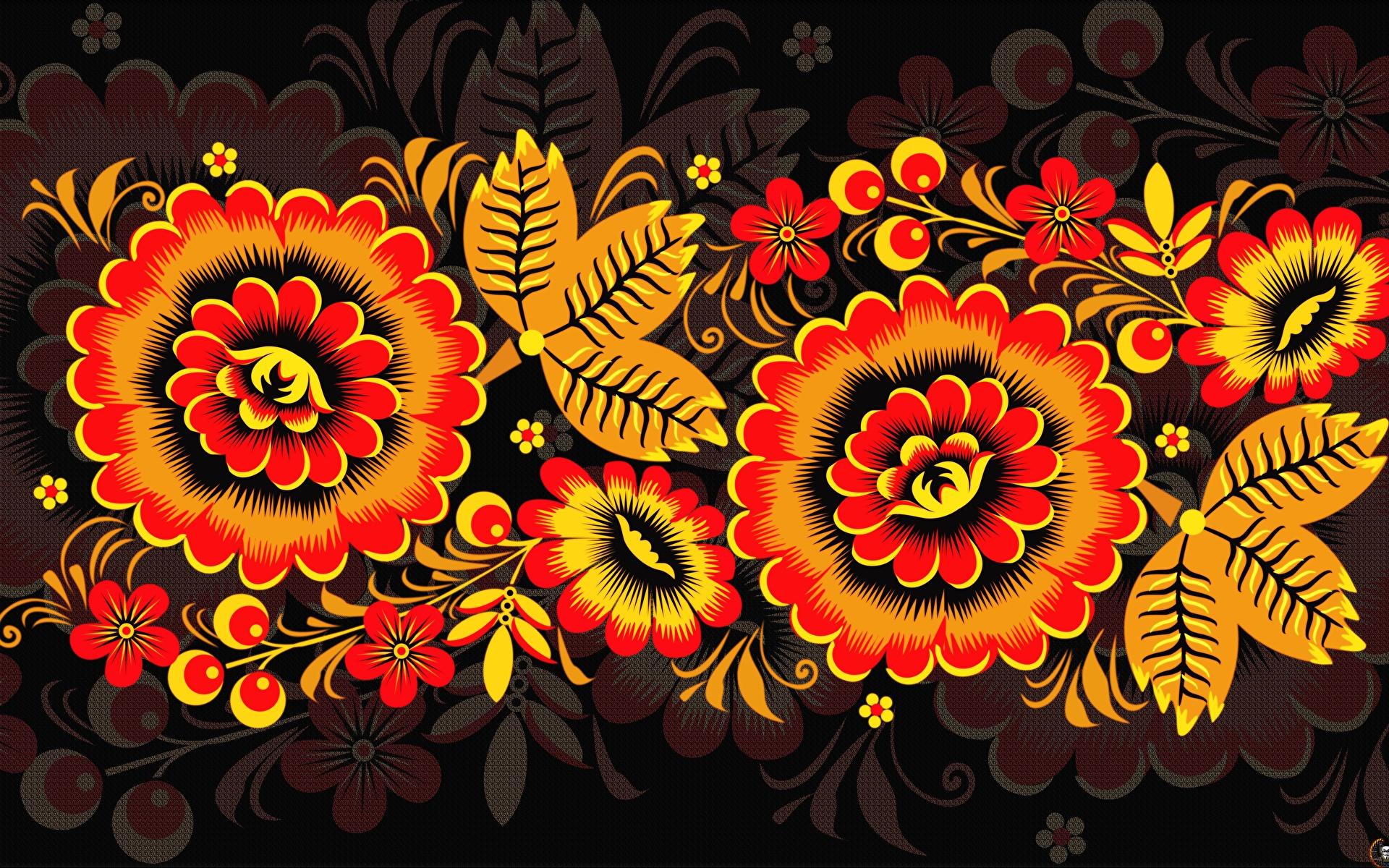 Fotos von Textur Russische Khokhloma Blumen 1920x1200