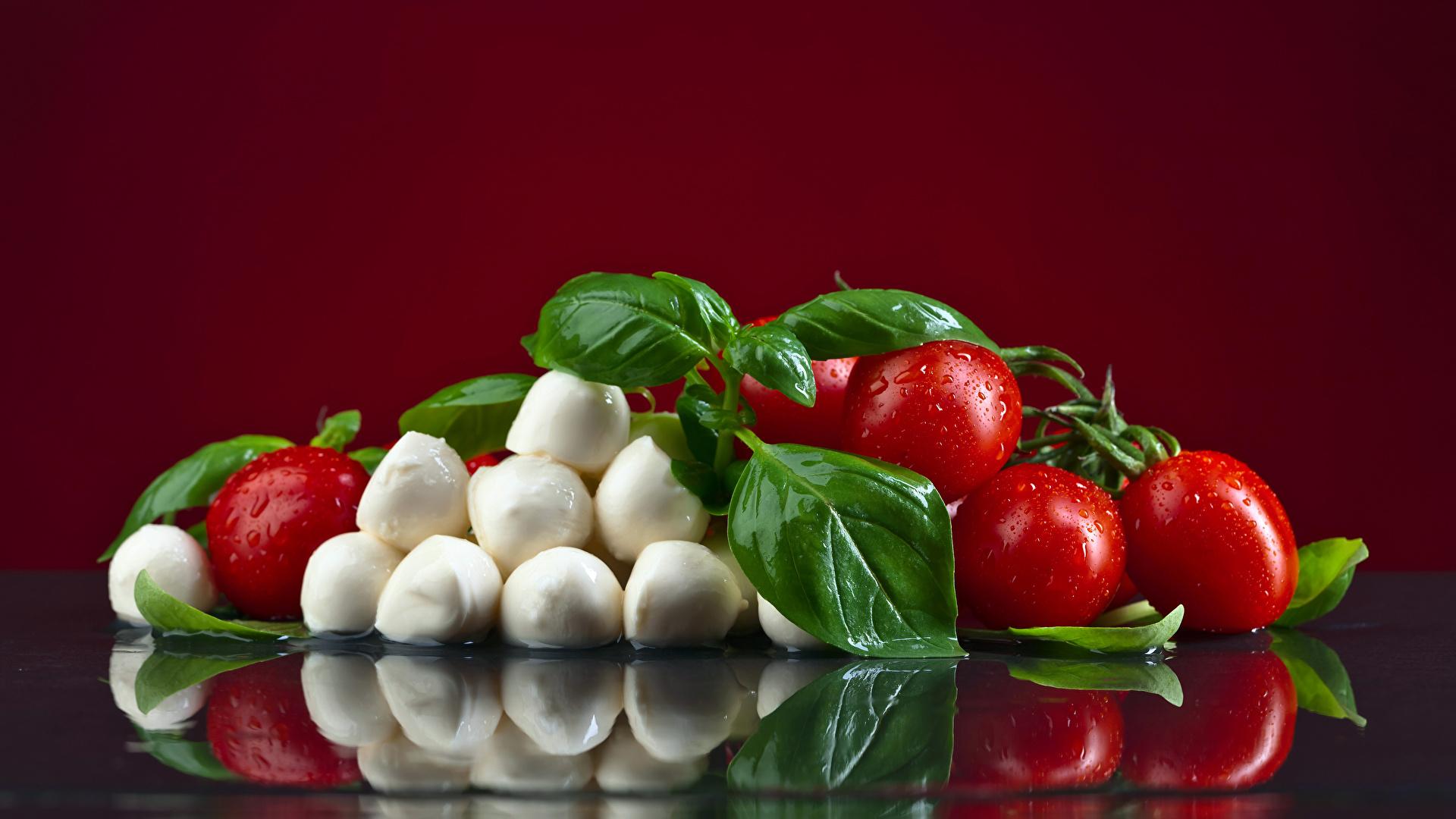 Foto Blattwerk Tomate Käse Tropfen Lebensmittel Farbigen hintergrund 1920x1080 Blatt