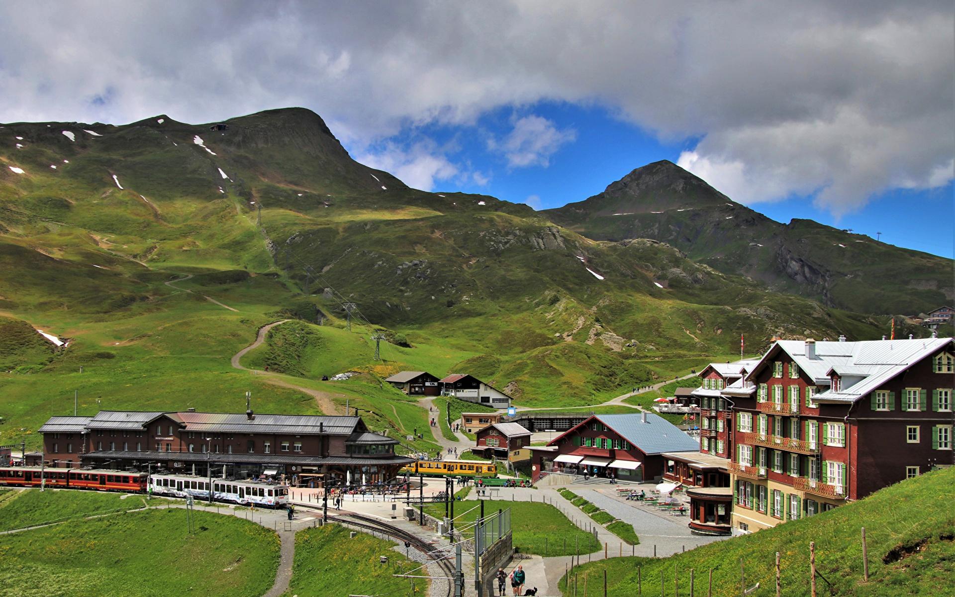Bilder von Alpen Schweiz Jungfrau Berg Natur Züge Eisenbahn 1920x1200 Gebirge