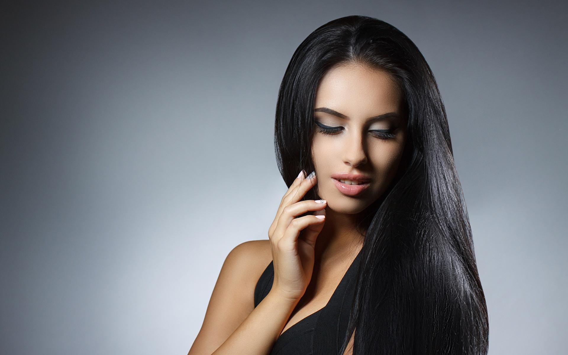 Desktop Hintergrundbilder Brünette Model Schminke hübscher Haar Mädchens 1920x1200 Make Up Schön schöne hübsch hübsche schöner schönes junge frau junge Frauen