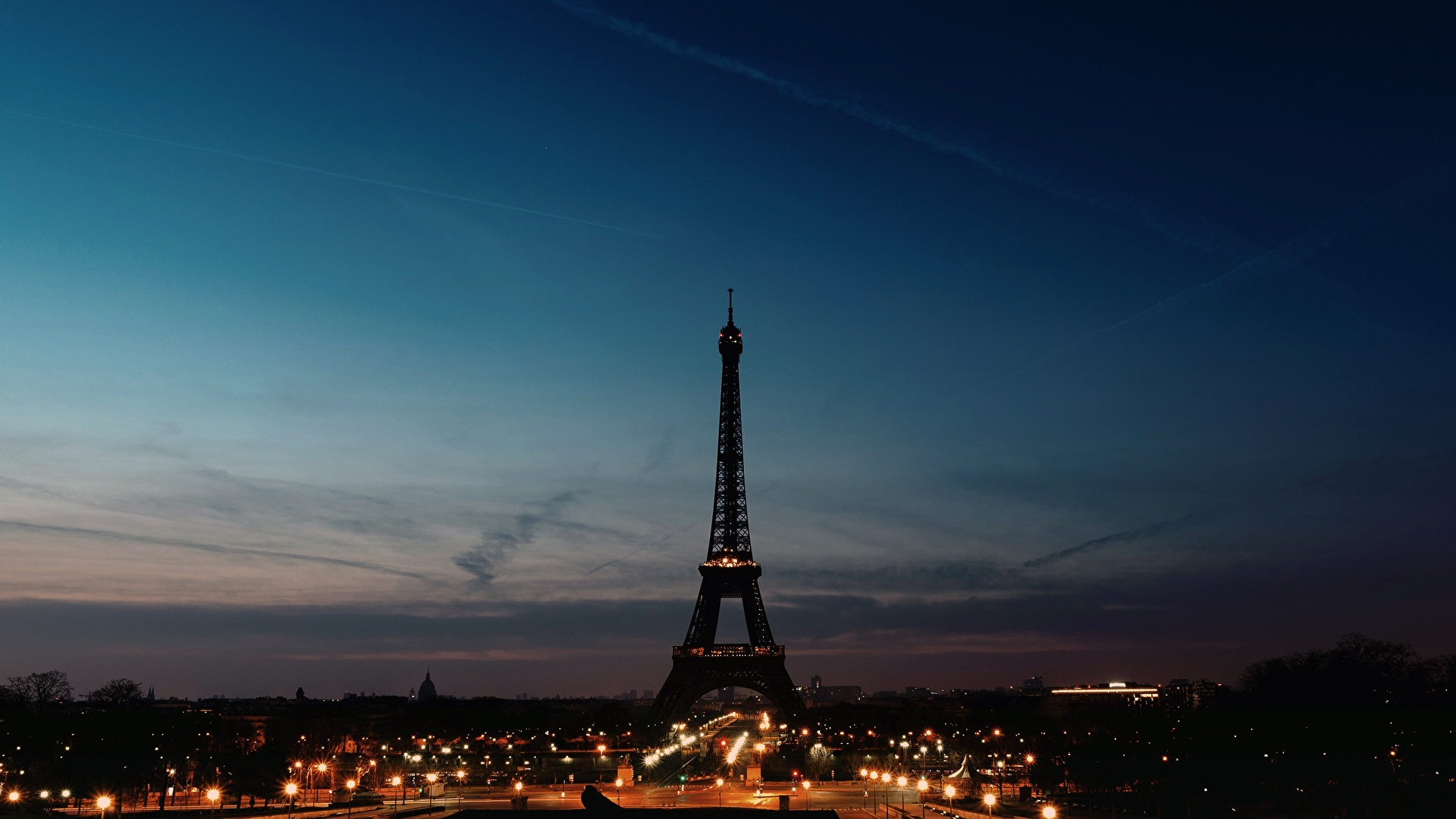 Images Paris Eiffel Tower France Silhouettes Sky Night 1920x1080