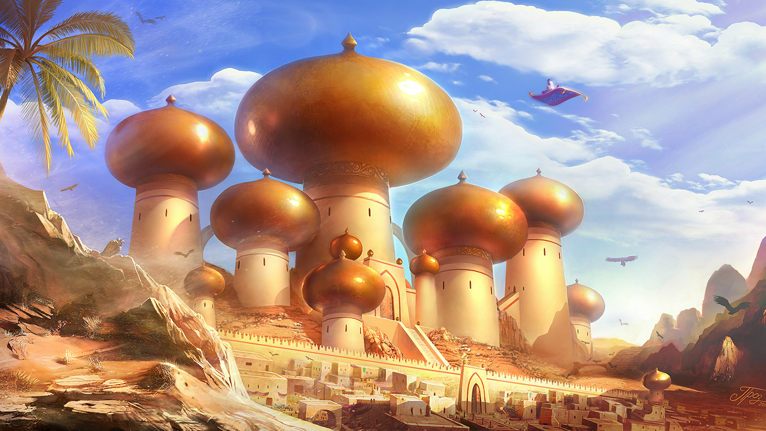 壁紙 2560x1440 アラジン The Magic Carpet 漫画 ダウンロード 写真