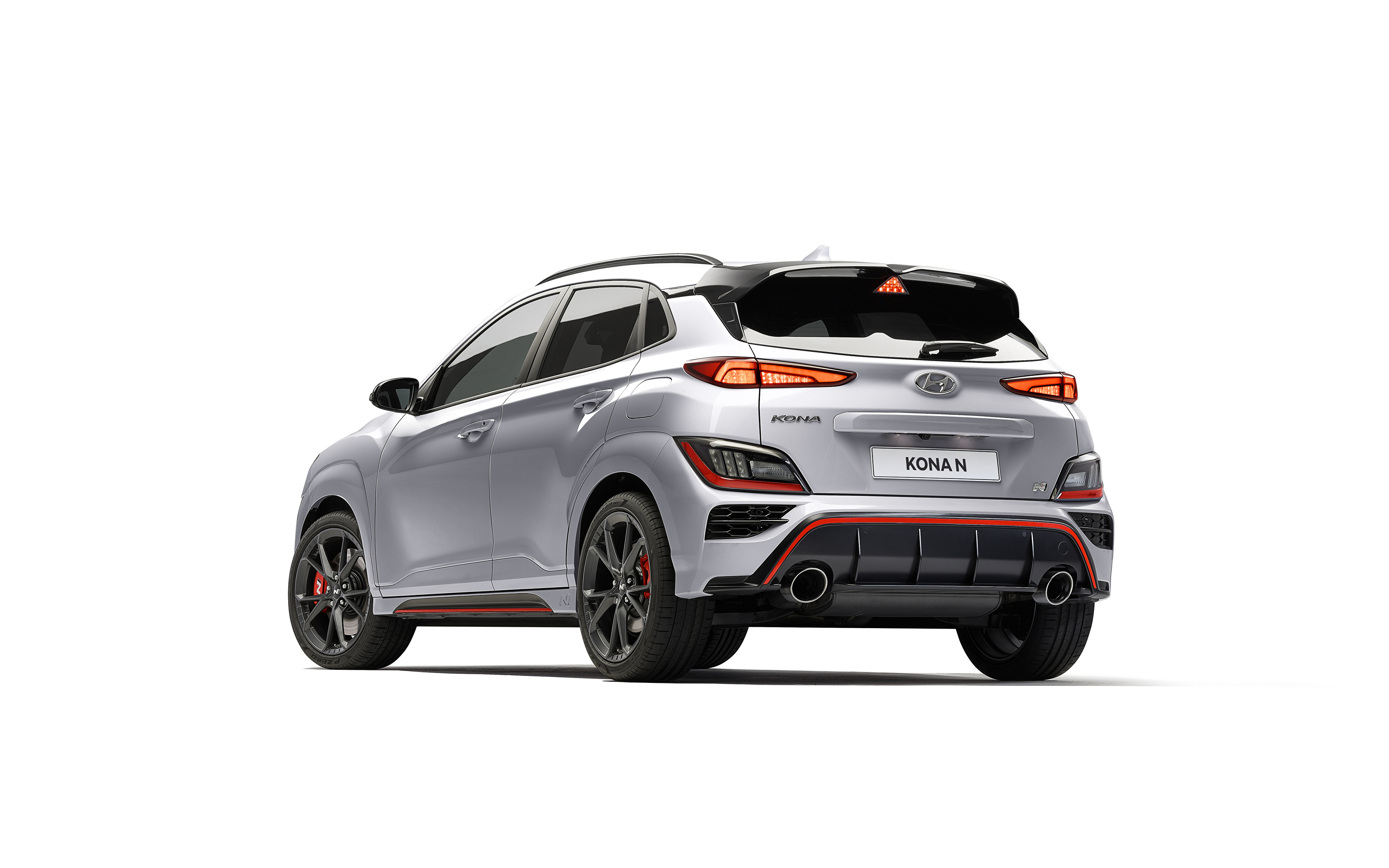 Bilder Hyundai Kona N, (Worldwide), (OS), 2021 Sølv farge Biler Bakfra Metallisk Hvit bakgrunn 3840x2400 bil automobil