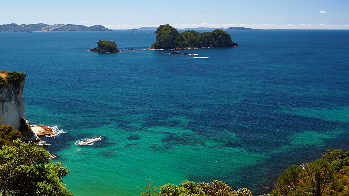 1366x768、海岸、ニュージーランド、海、島、Cathedral Cove、、自然、