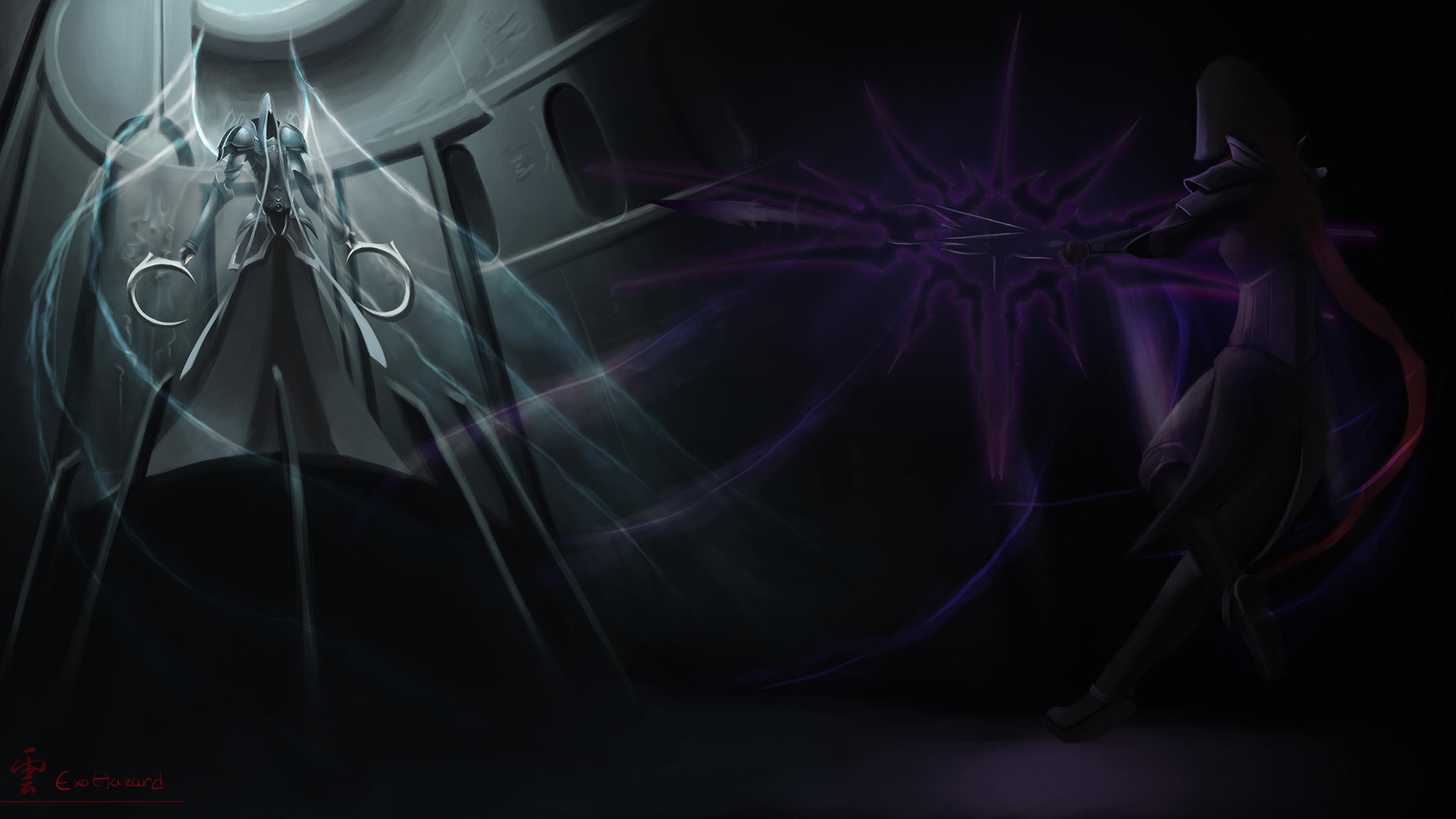 Images Diablo Iii Demons Warriors Demon Hunter Vs Malthael 3840x2160