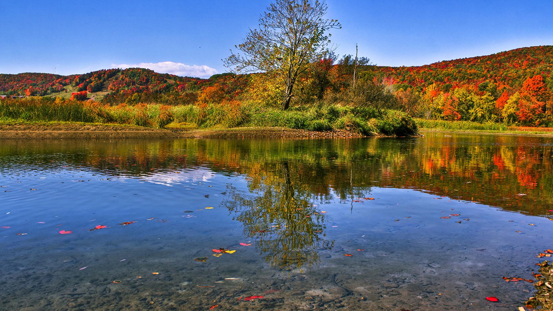 Fotos Von Natur Kanada Waterville Quebec Herbst See Walder