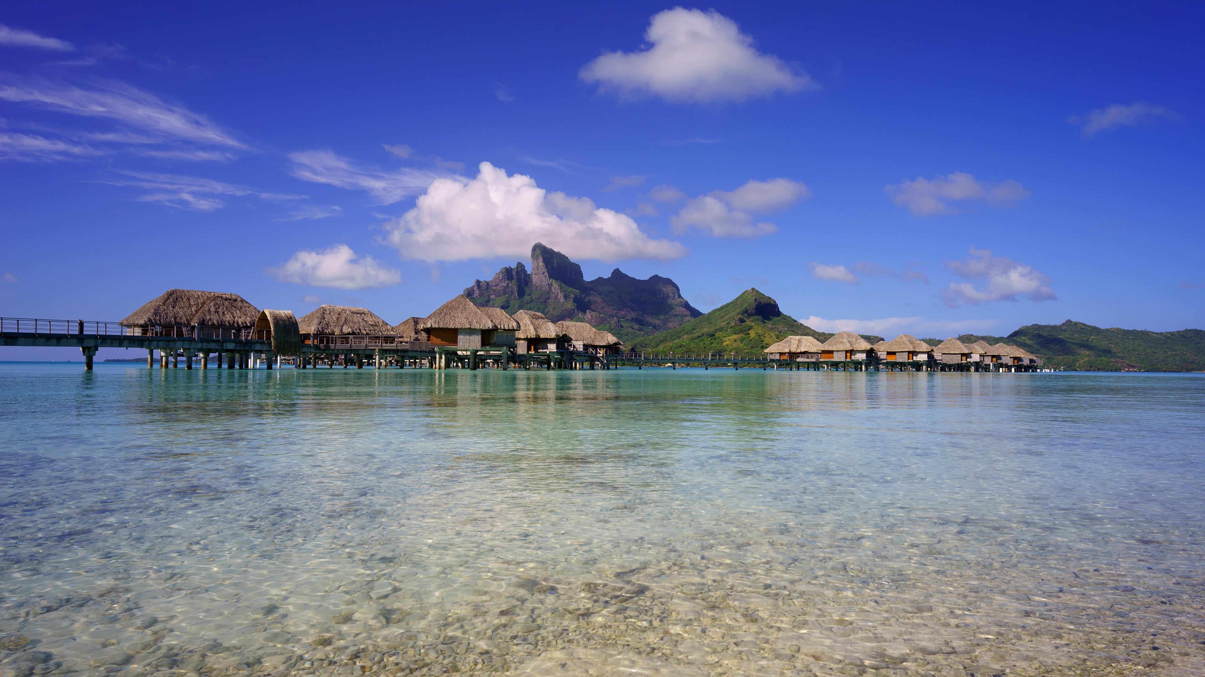 3840x2160、フランス領ポリネシア、熱帯、海、風景写真、山、空、ボラボラ島、バンガロー、自然、
